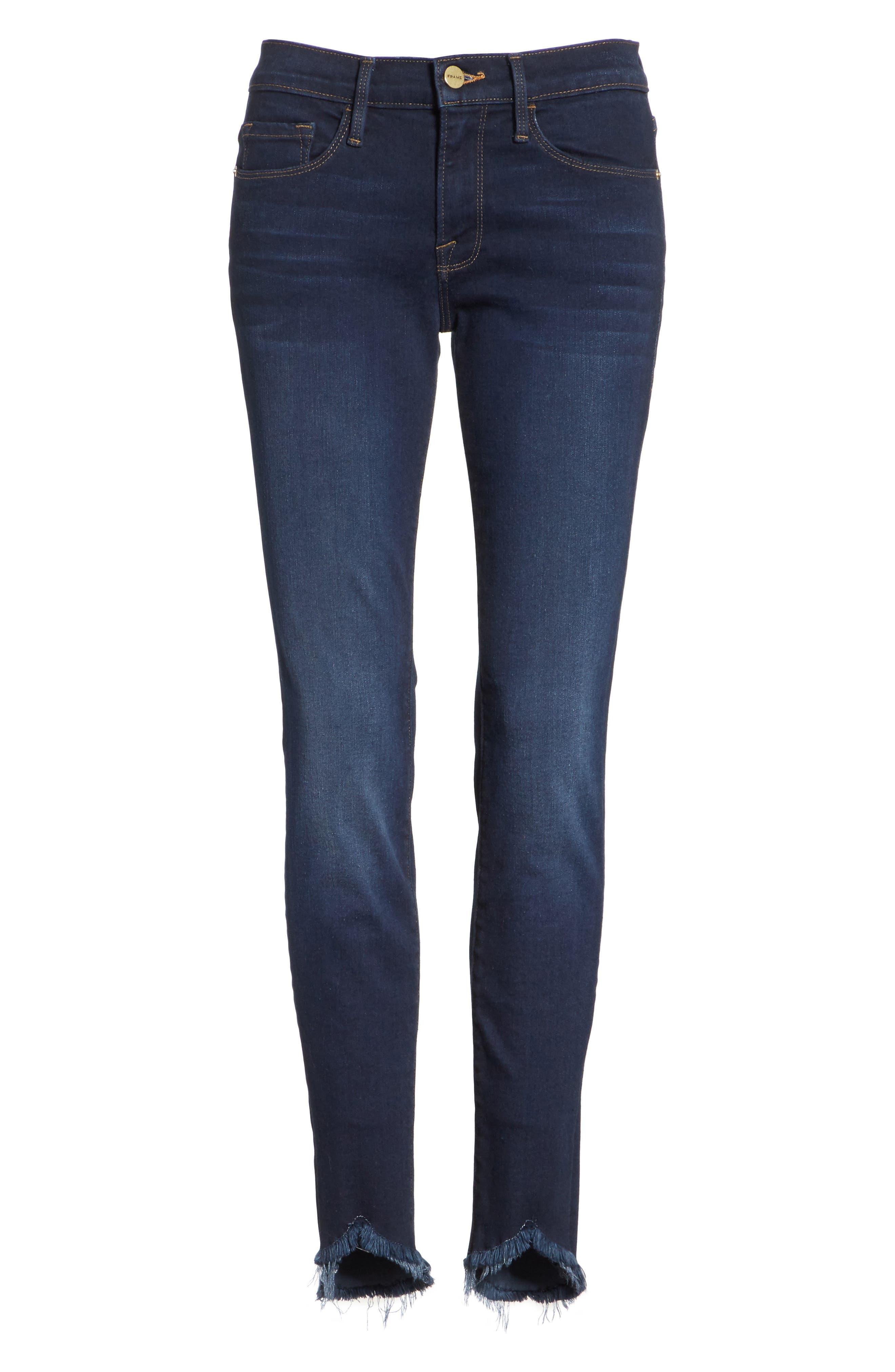 Le Skinny de Jeanne Sweetheart Hem Jeans,                             Alternate thumbnail 6, color,                             Longstreet