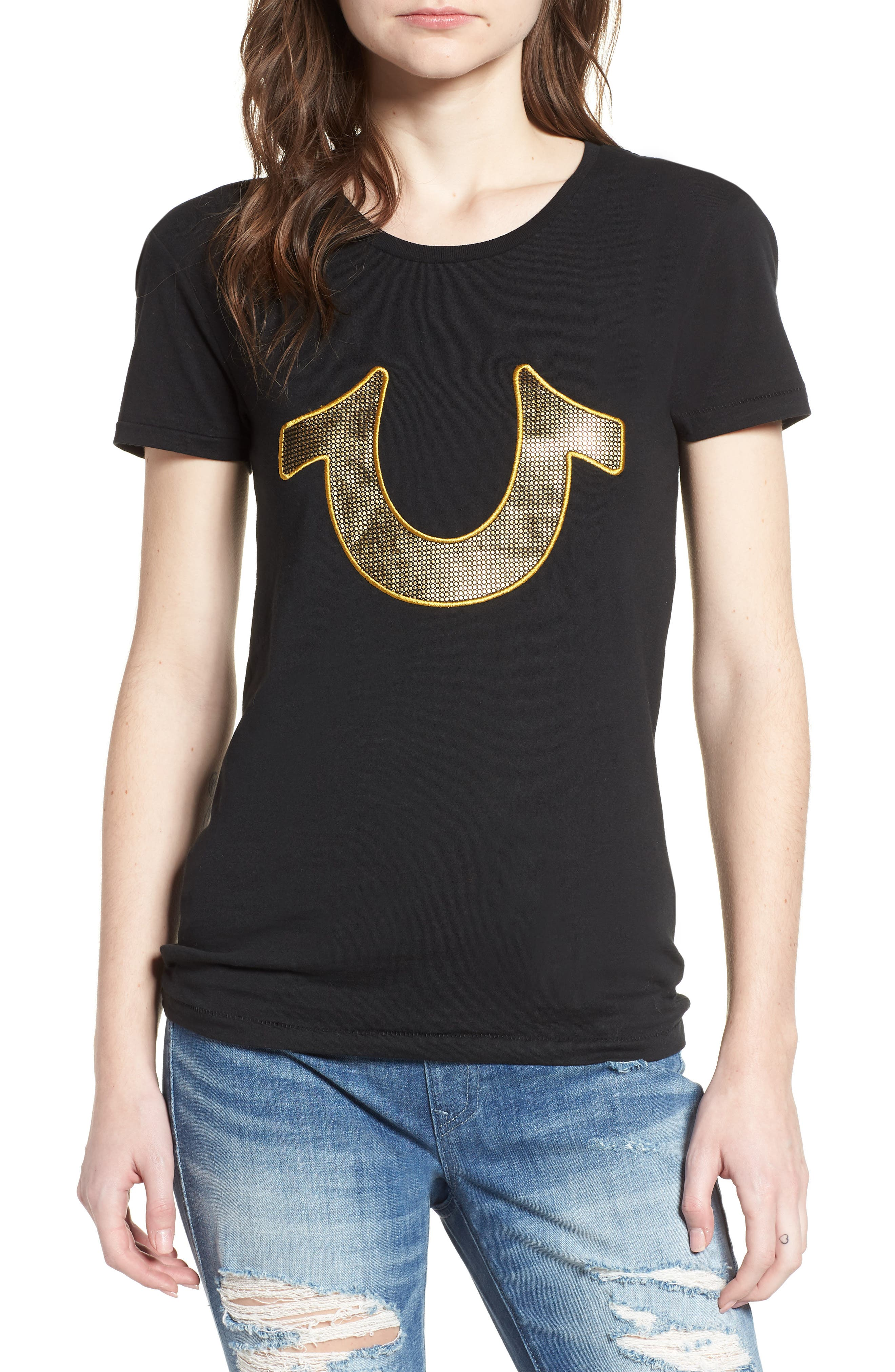 True Religion Brand Jeans Mesh Horseshoe Tee