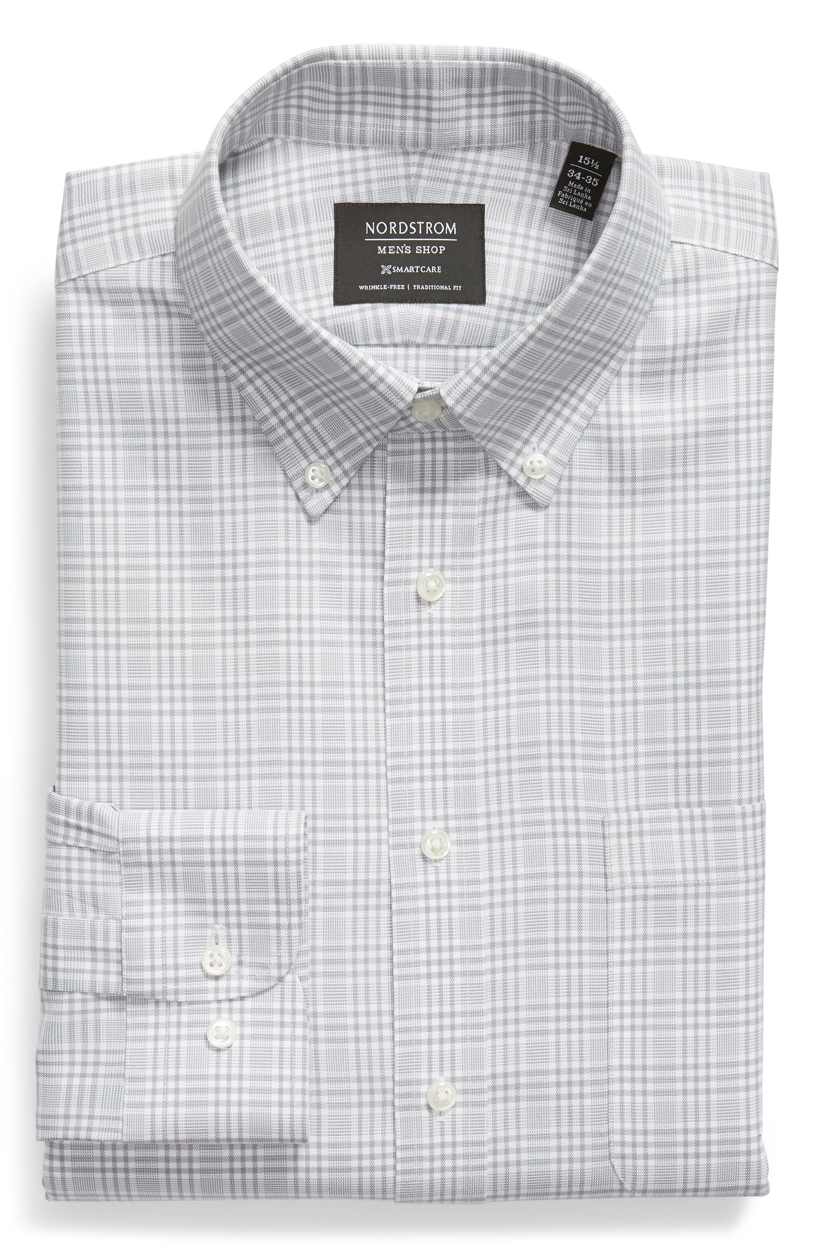 Smartcare<sup>™</sup> Traditional Fit Plaid Dress Shirt,                             Alternate thumbnail 6, color,                             Grey Sleet
