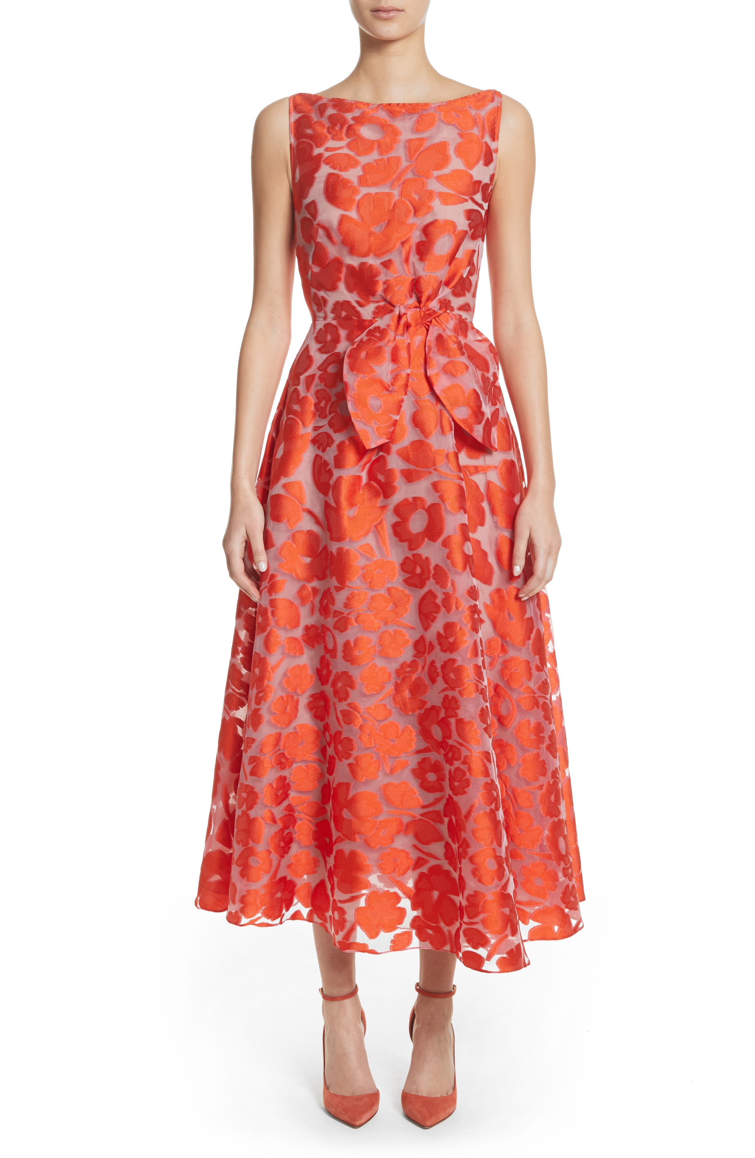 Lela Rose Bow Waist Tea Length Dress