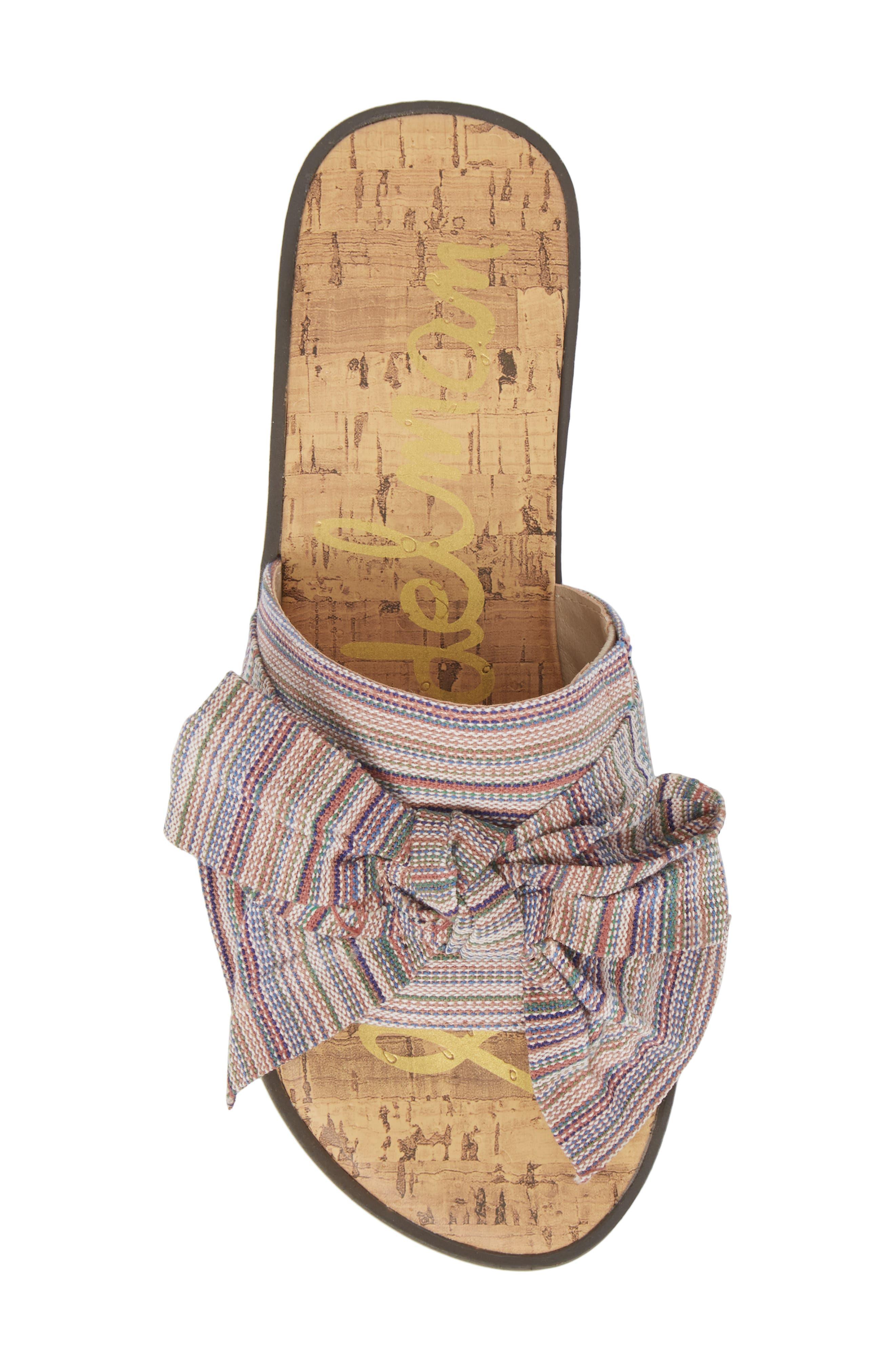 Gigi Bow Faux Leather Sandal,                             Alternate thumbnail 5, color,                             Tan Multi Fabric
