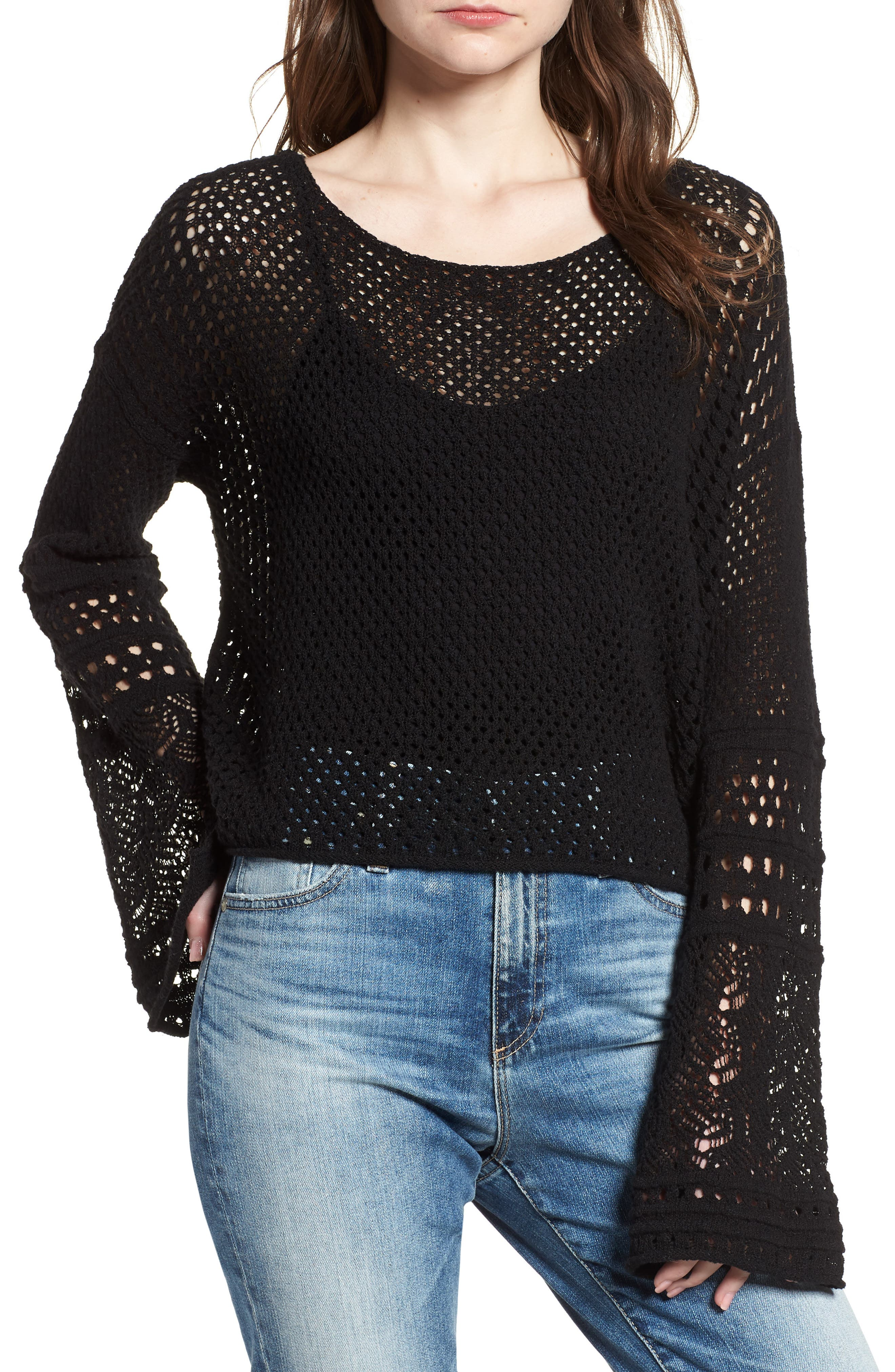 Pointelle Stitch Bell Sleeve Sweater,                             Main thumbnail 1, color,                             Rich Black