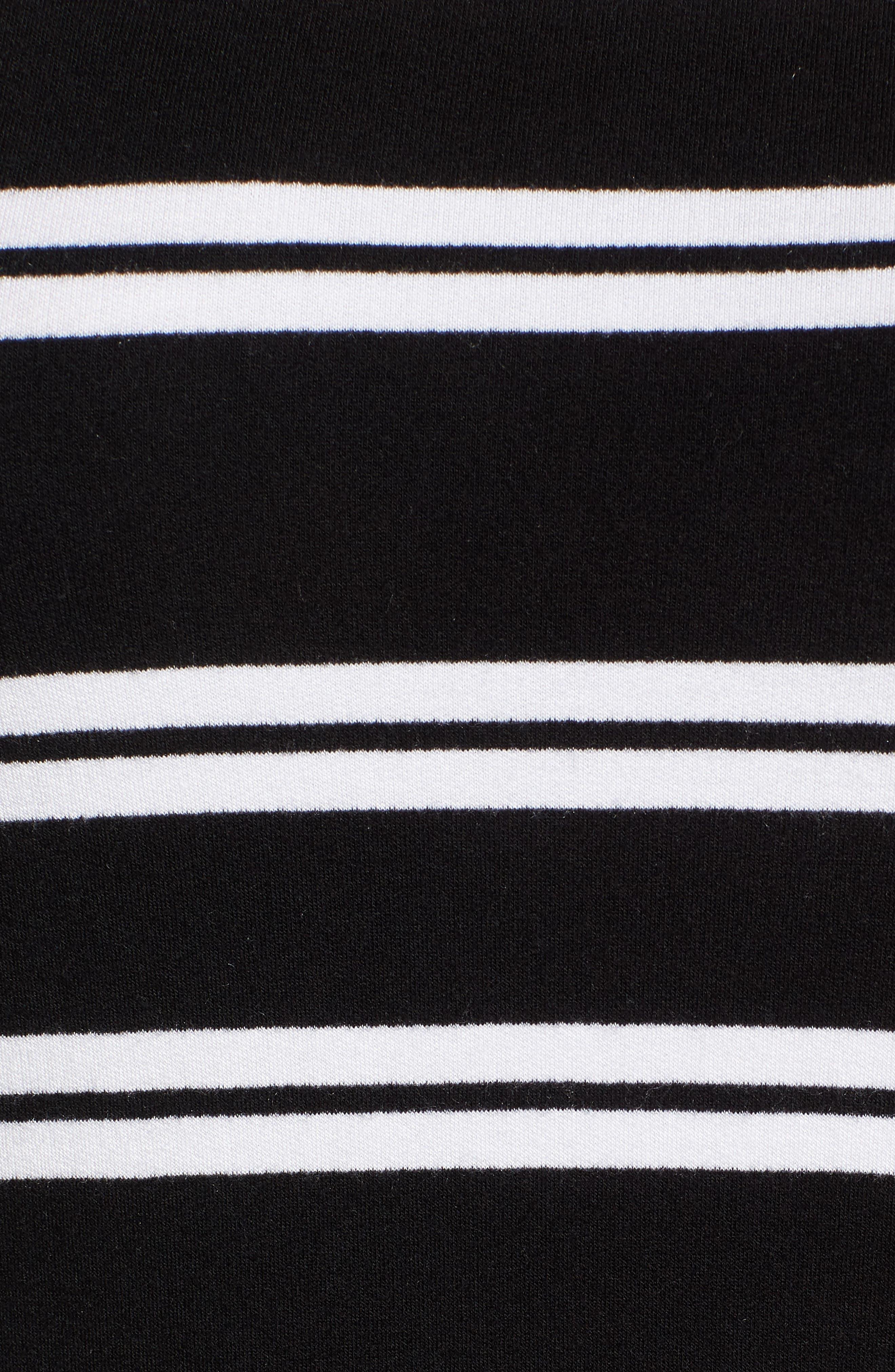 Sleeveless Stretch Knit Stripe Dress,                             Alternate thumbnail 6, color,                             Black