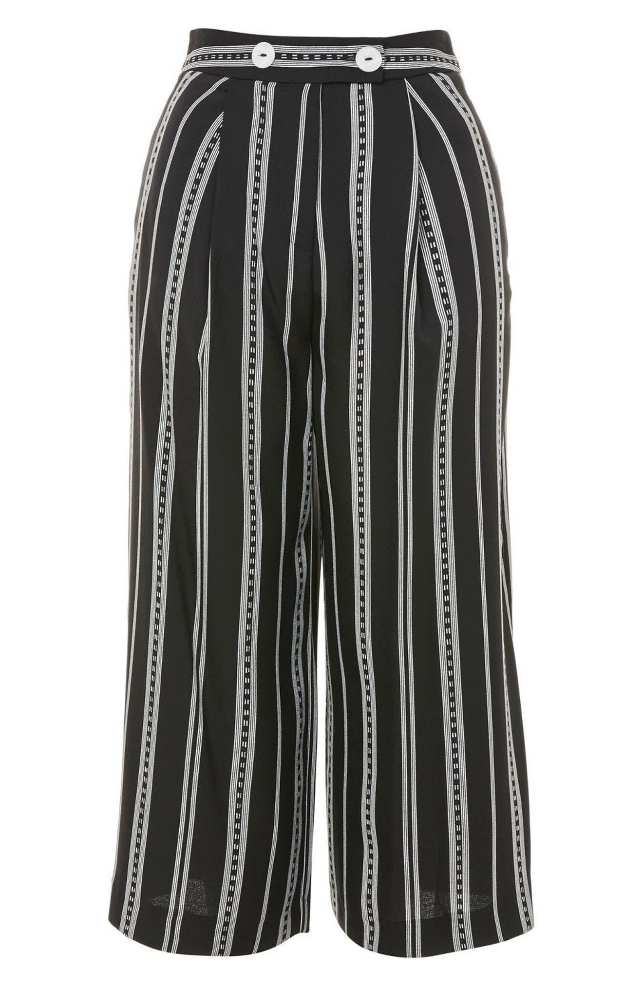 Crop Wide Leg Stripe Trousers,                             Alternate thumbnail 4, color,                             Black Multi