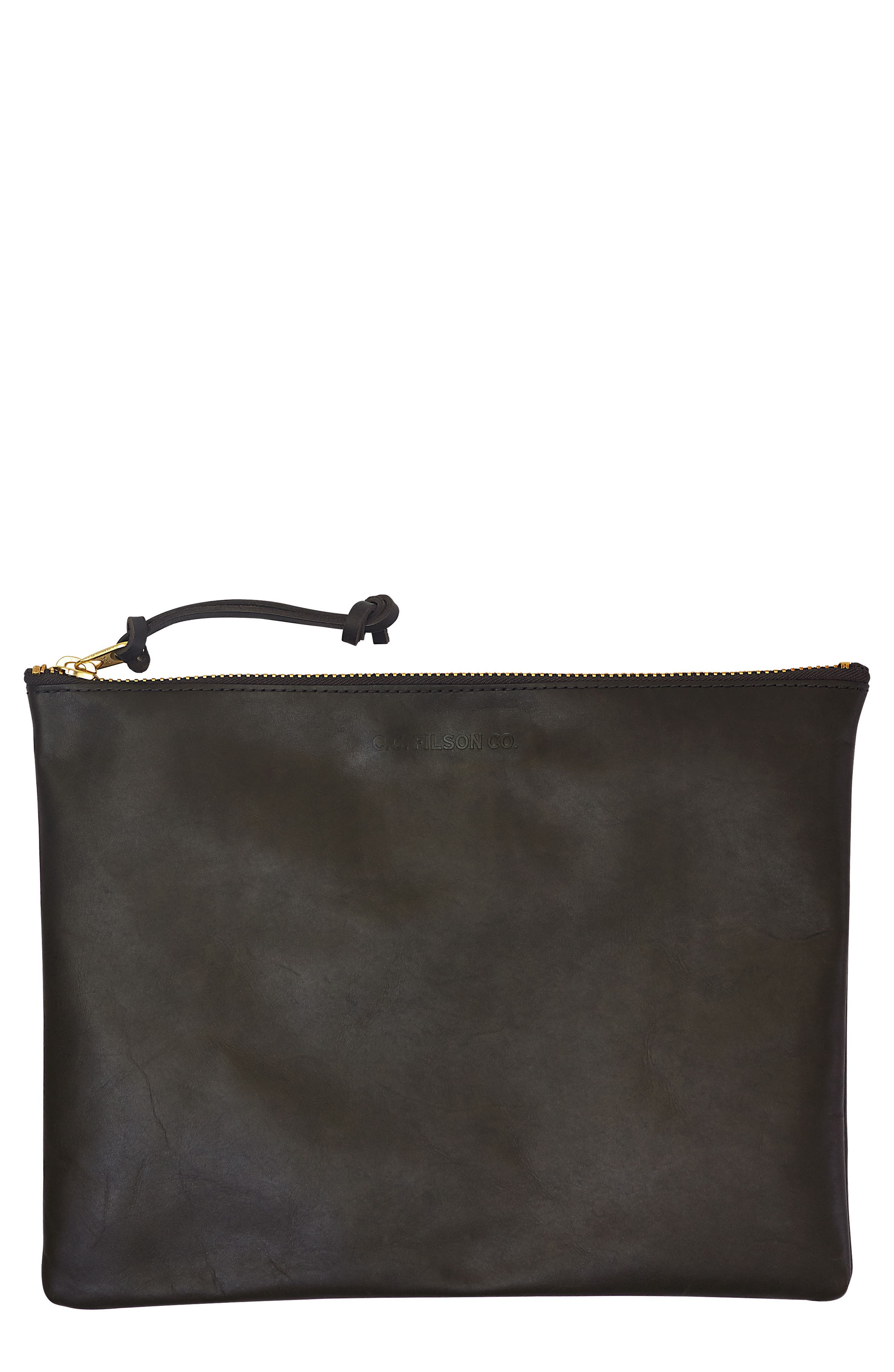Large Leather Pouch,                         Main,                         color, Moss