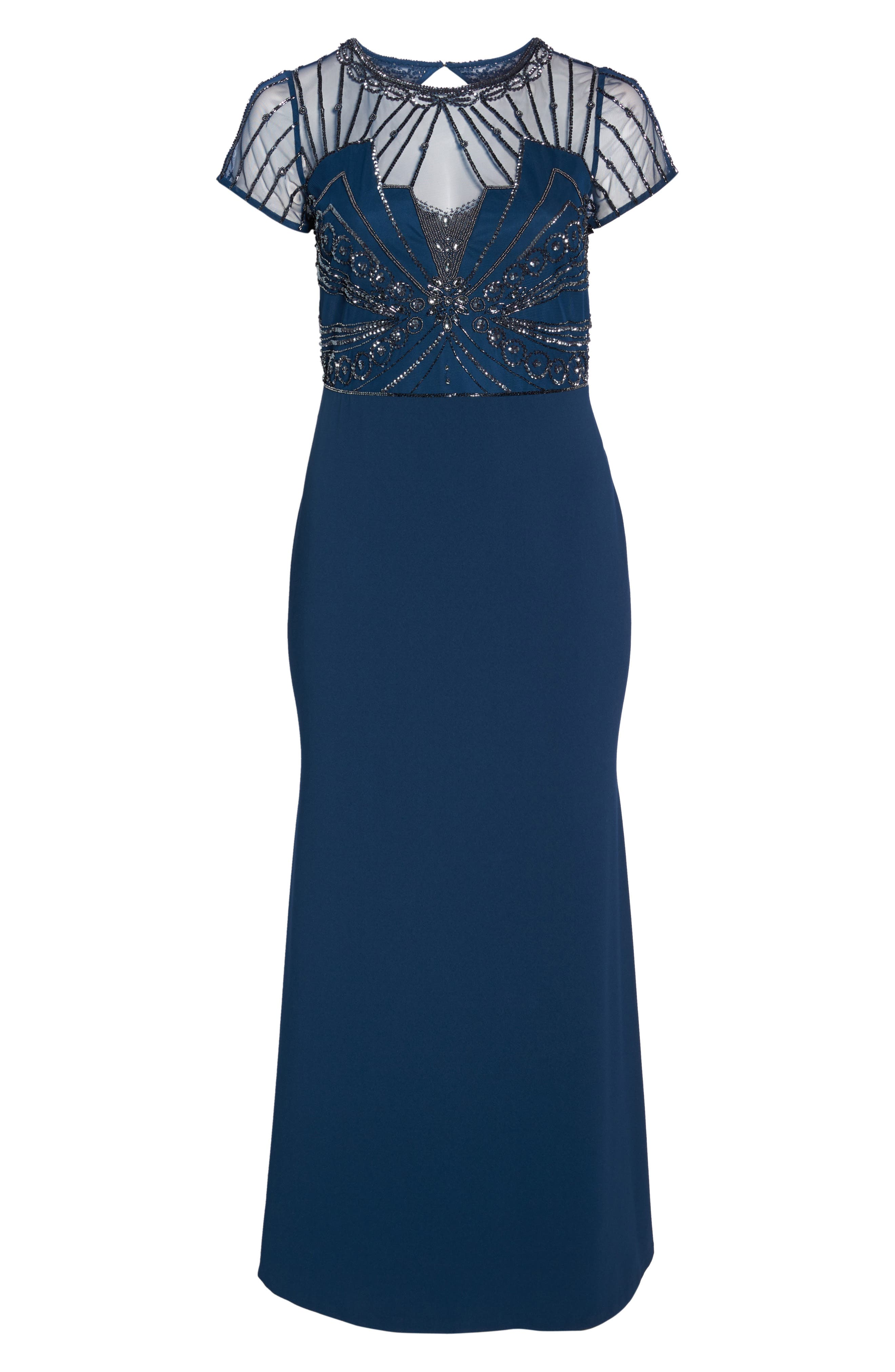 Beaded Bodice Crepe Gown,                             Alternate thumbnail 6, color,                             Deep Blue