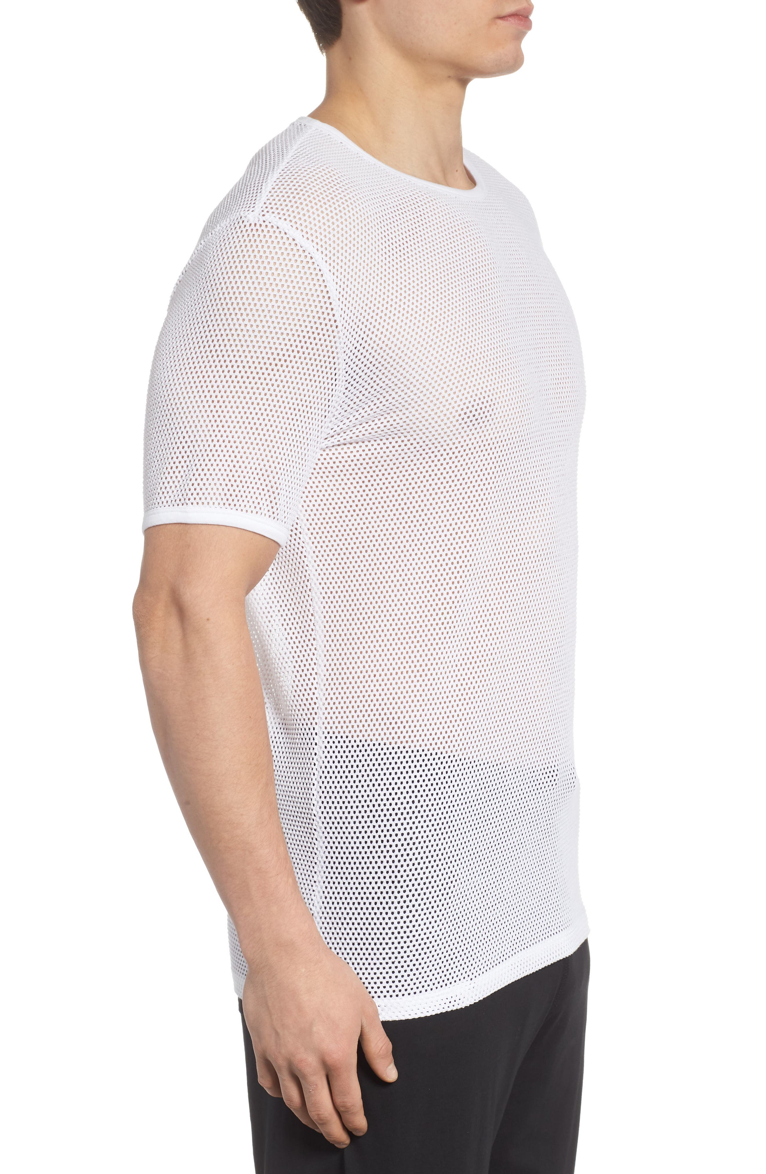 Stretch Mesh T-Shirt,                             Alternate thumbnail 3, color,                             White