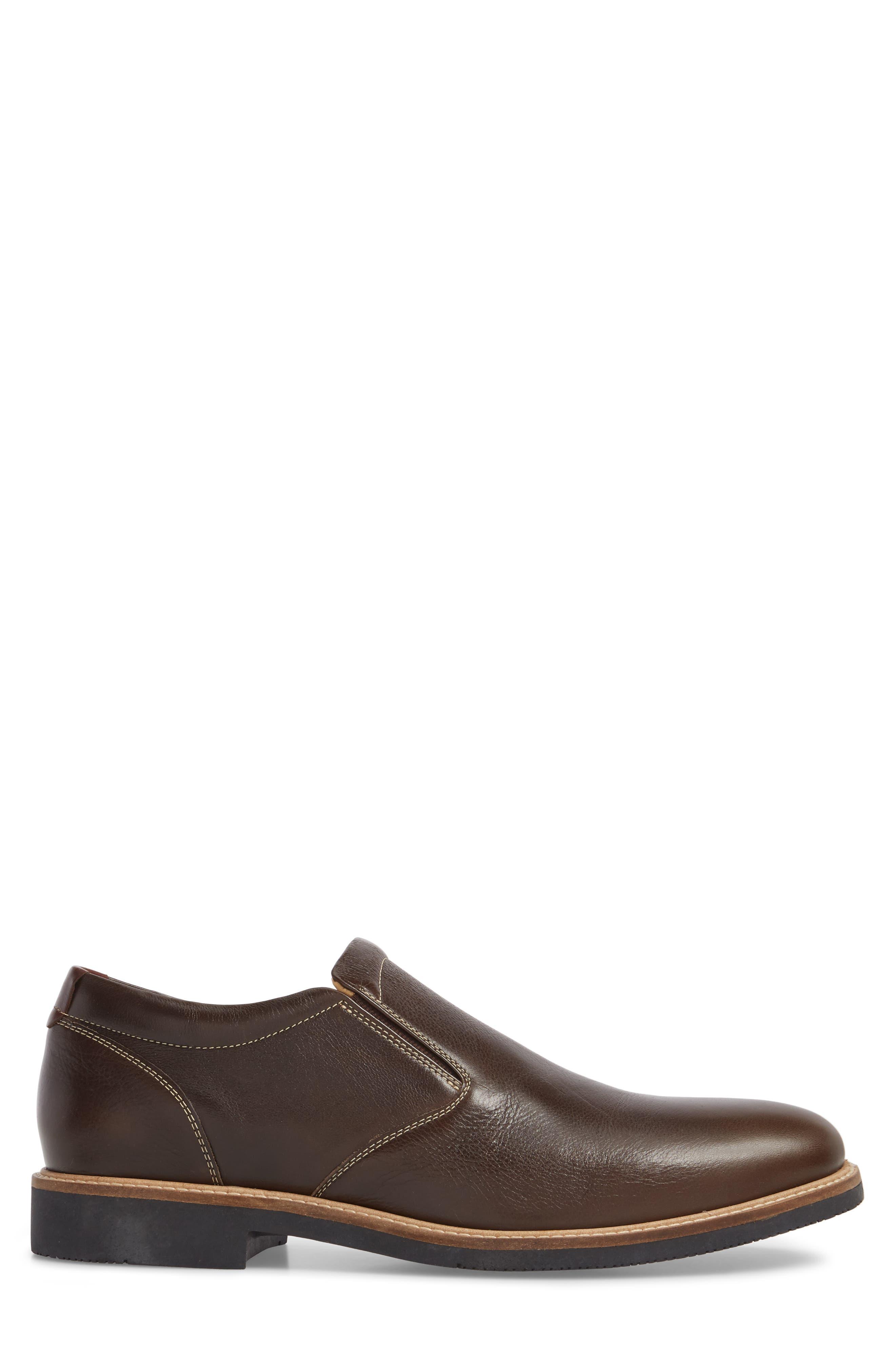 Barlow Plain Toe Slip-On,                             Alternate thumbnail 3, color,                             Dark Brown Leather
