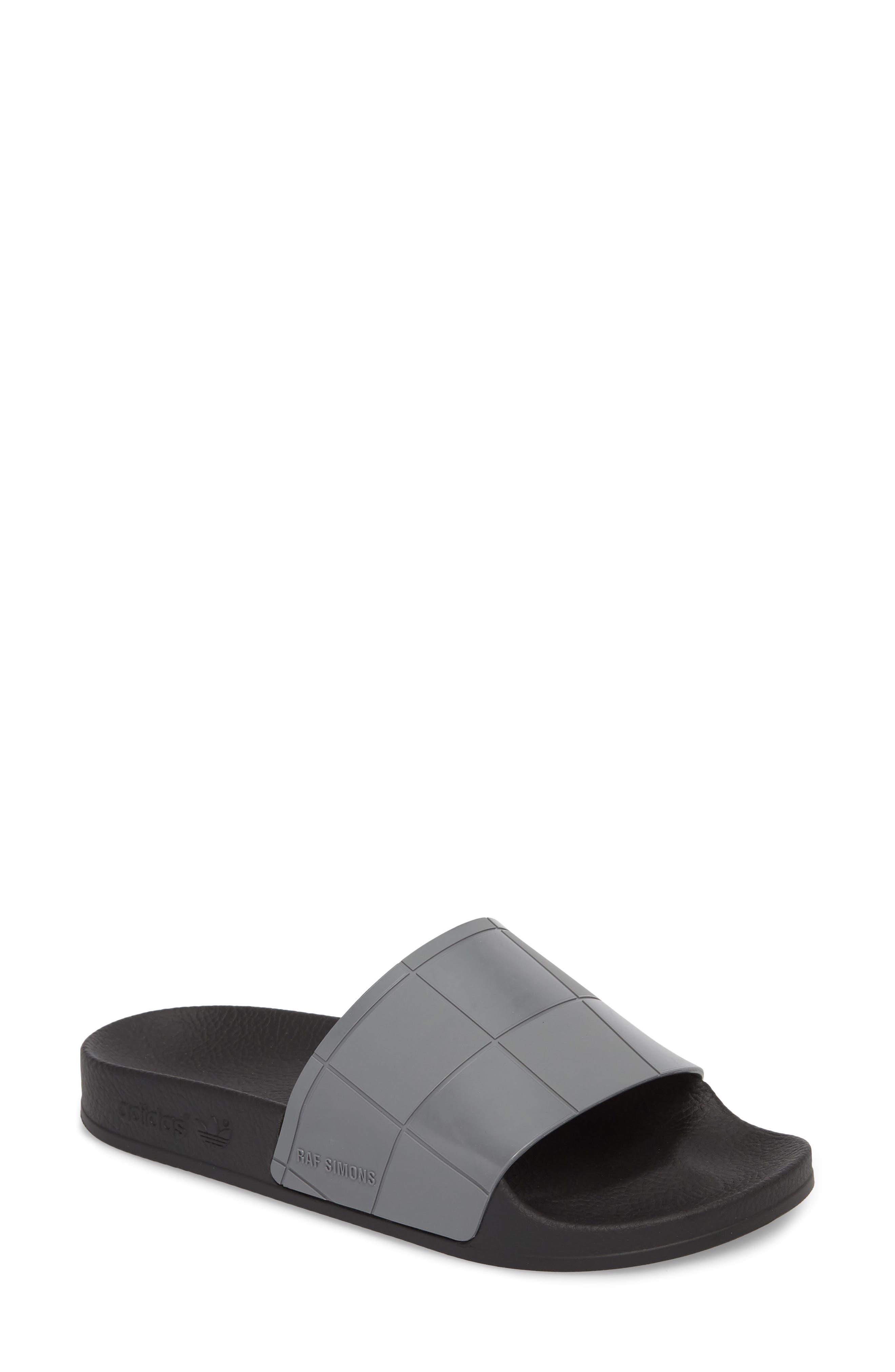 Adilette Slide Sandal,                             Main thumbnail 1, color,                             Core Black/ Granite