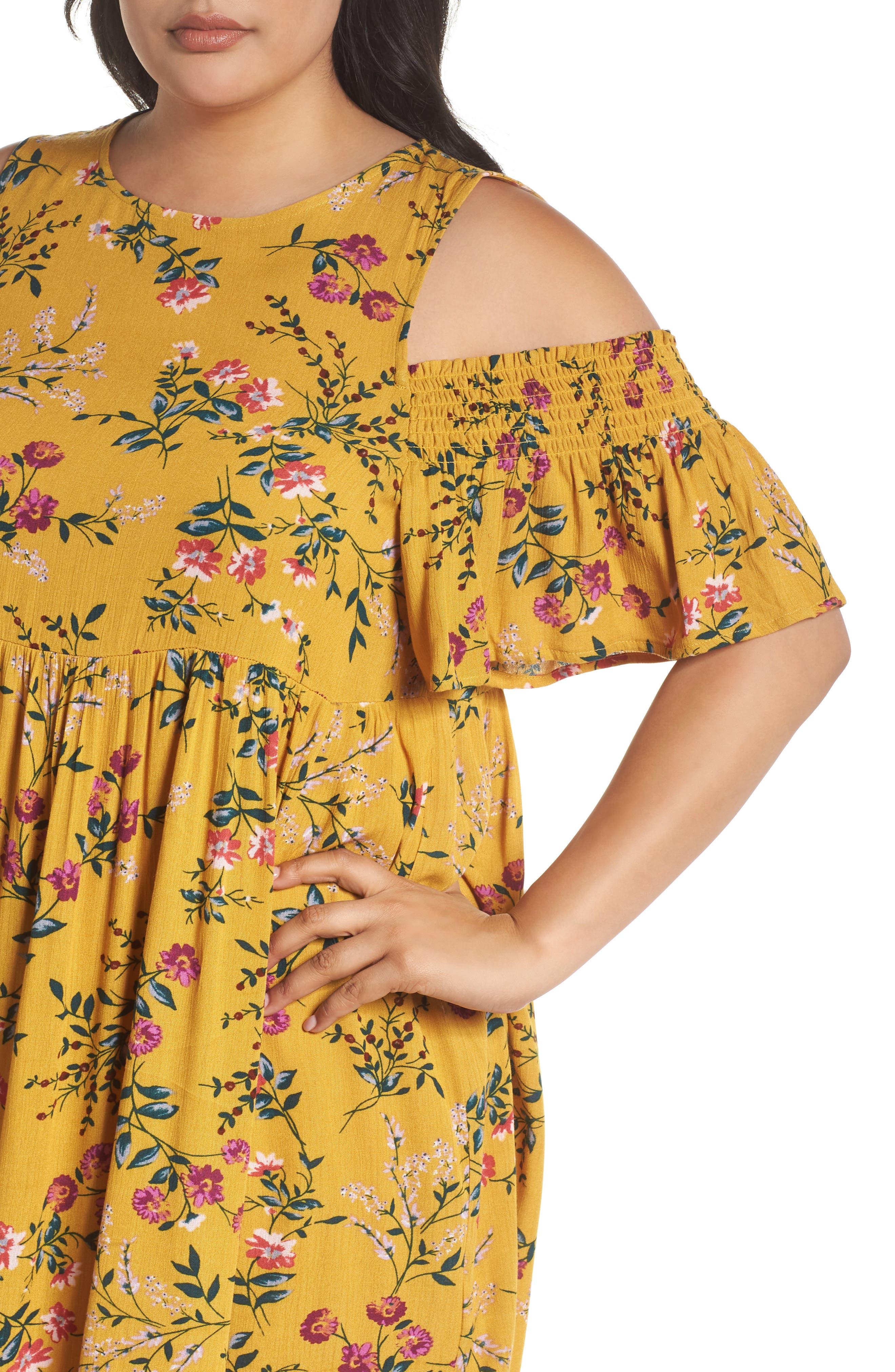Floral Smocked Cold Shoulder Dress,                             Alternate thumbnail 4, color,                             Mustard Multi Floral