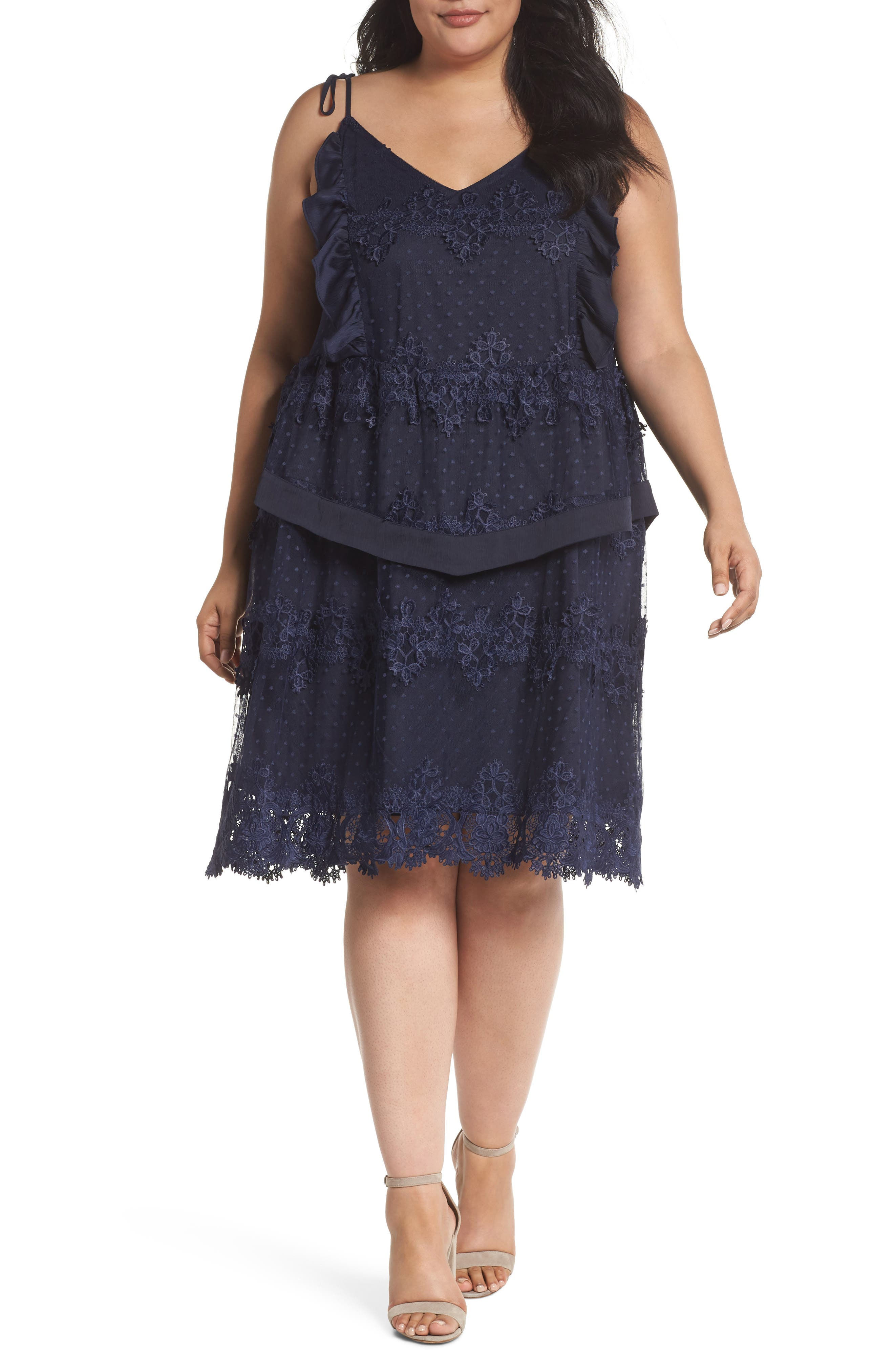 Lace Swiss Dot Swing Dress,                             Main thumbnail 1, color,                             Navy