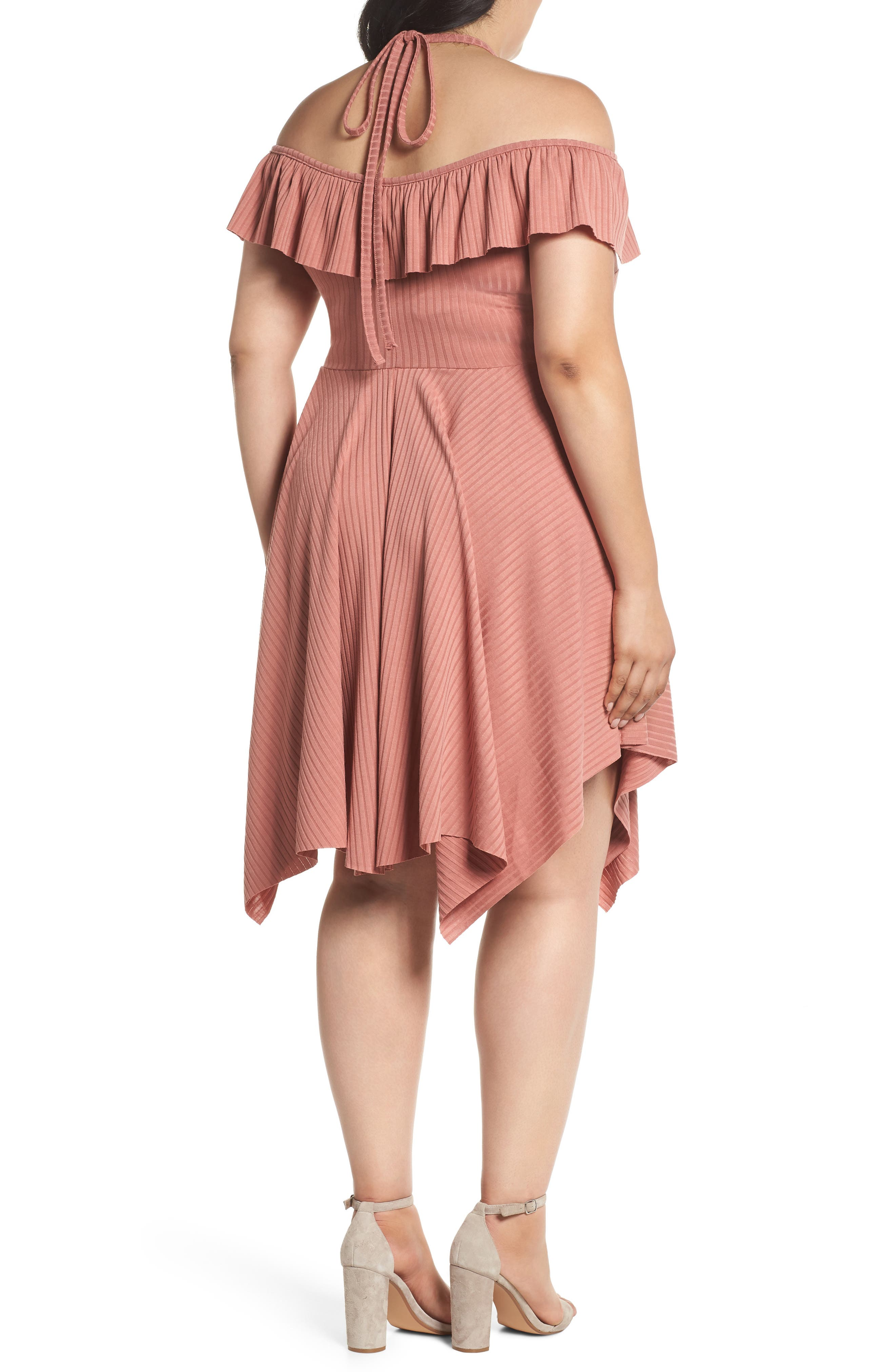 Asymmetrical Ribbed Off the Shoulder Dress,                             Alternate thumbnail 2, color,                             Blush