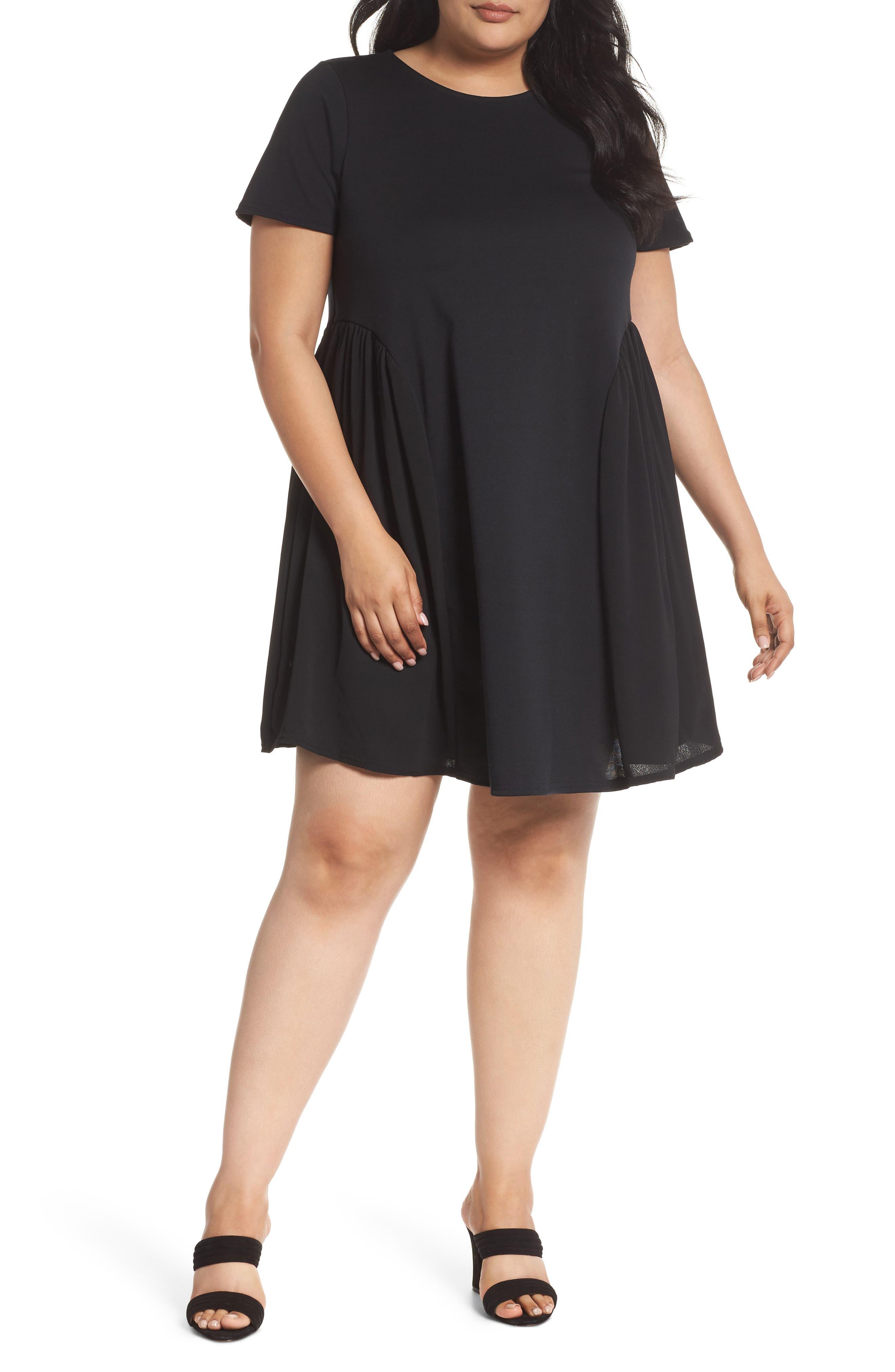 Crepe Chiffon Swing Dress,                             Main thumbnail 1, color,                             Black