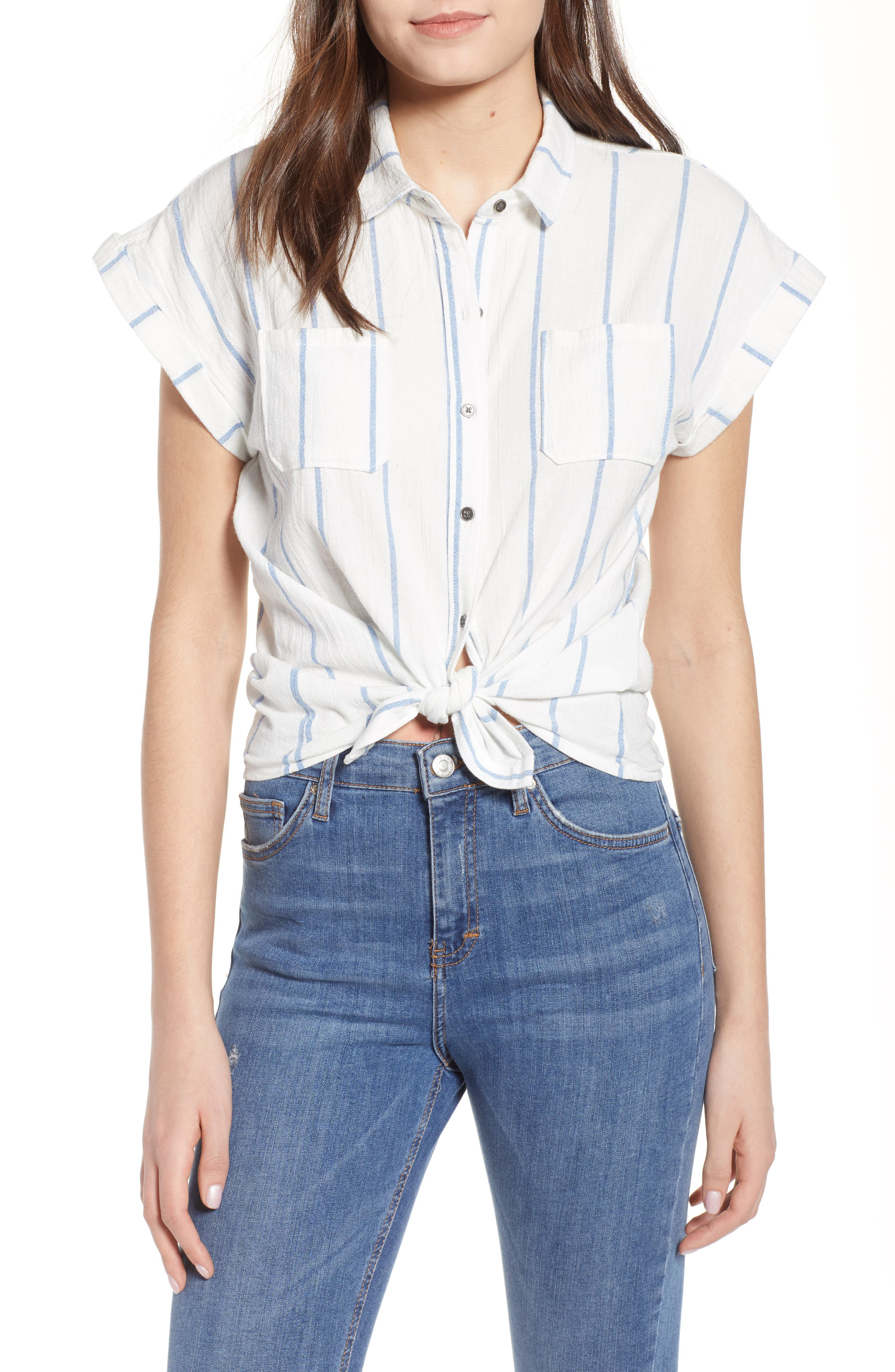 Stripe Cap Sleeve Top,                         Main,                         color, Ivory/ Blue Stripe