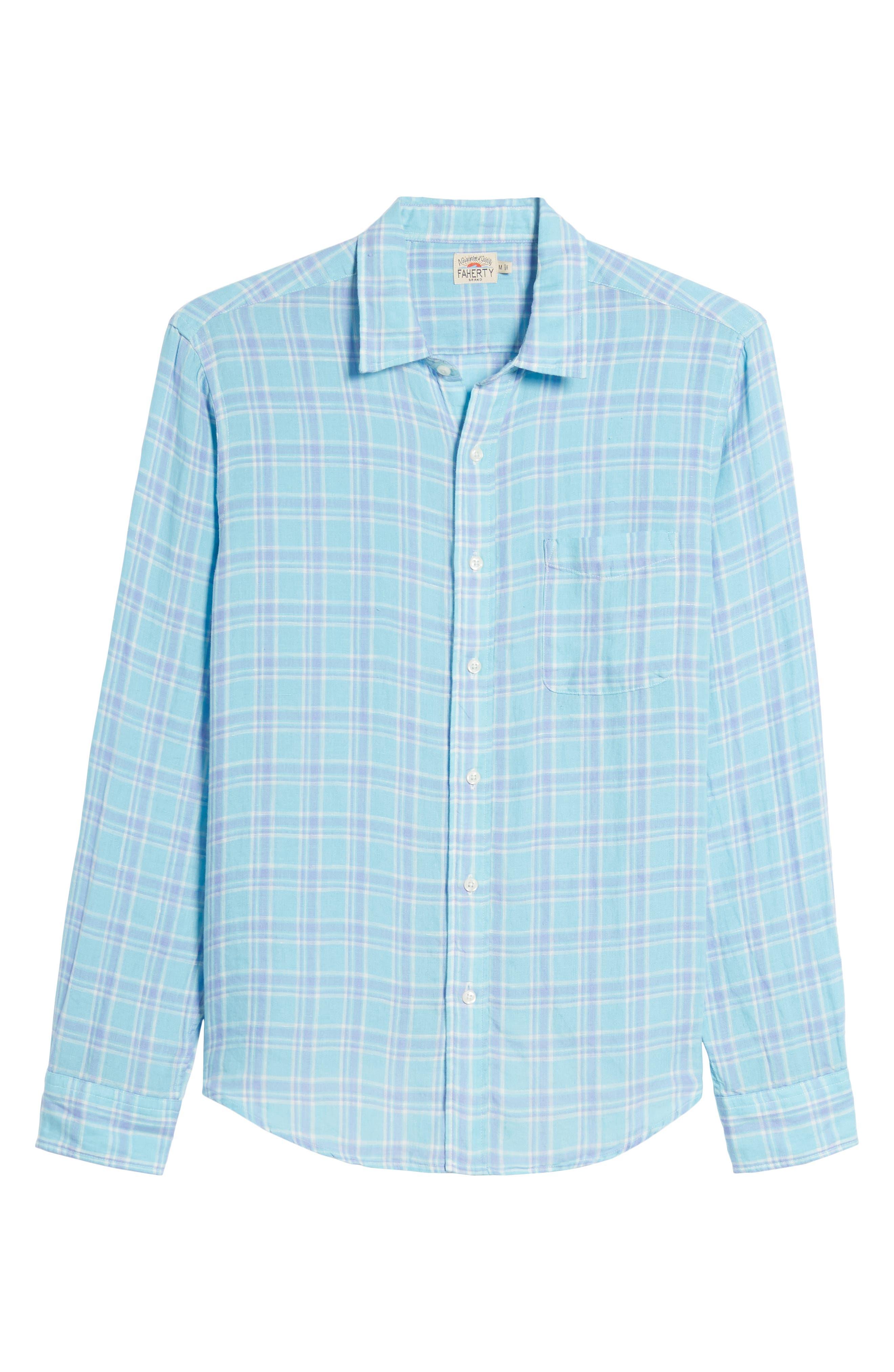 Ventura Plaid Linen Sport Shirt,                             Alternate thumbnail 6, color,                             Teal Purple Plaid