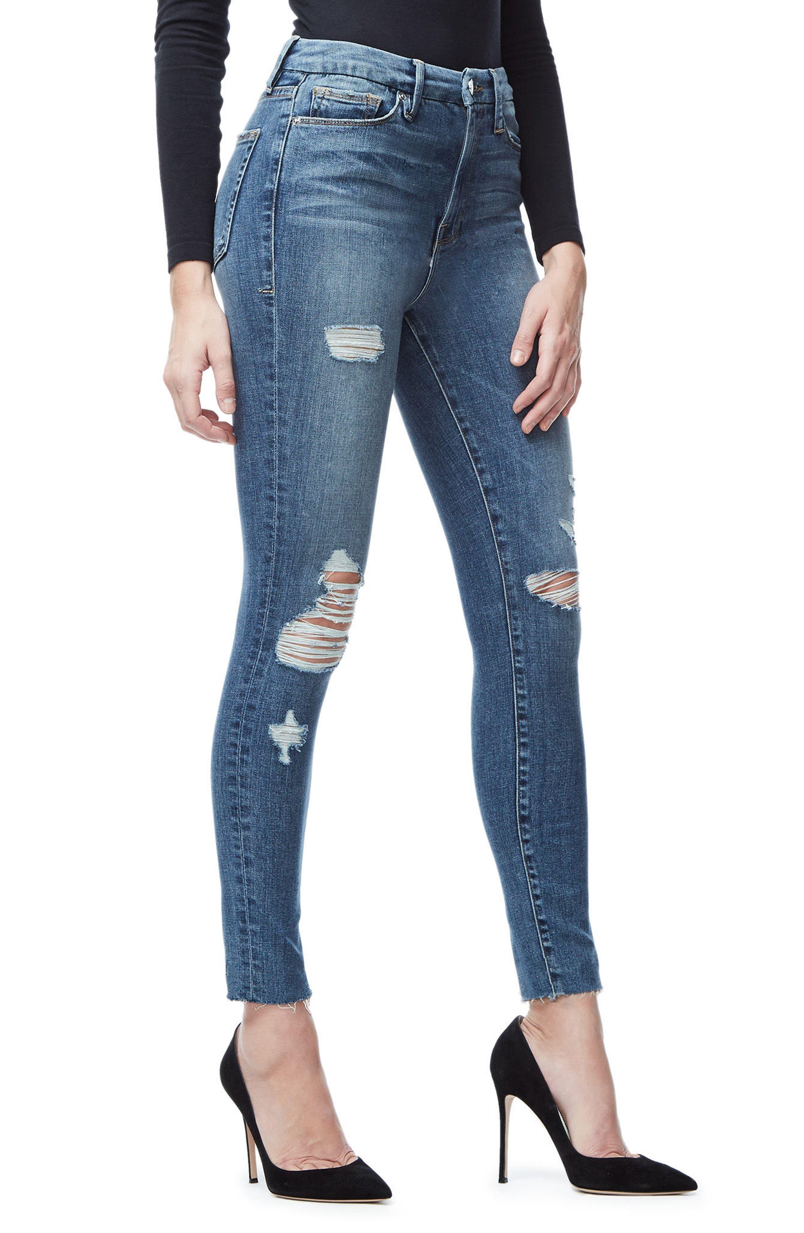 Good Waist Crop Skinny Jeans,                             Alternate thumbnail 3, color,                             Blue026