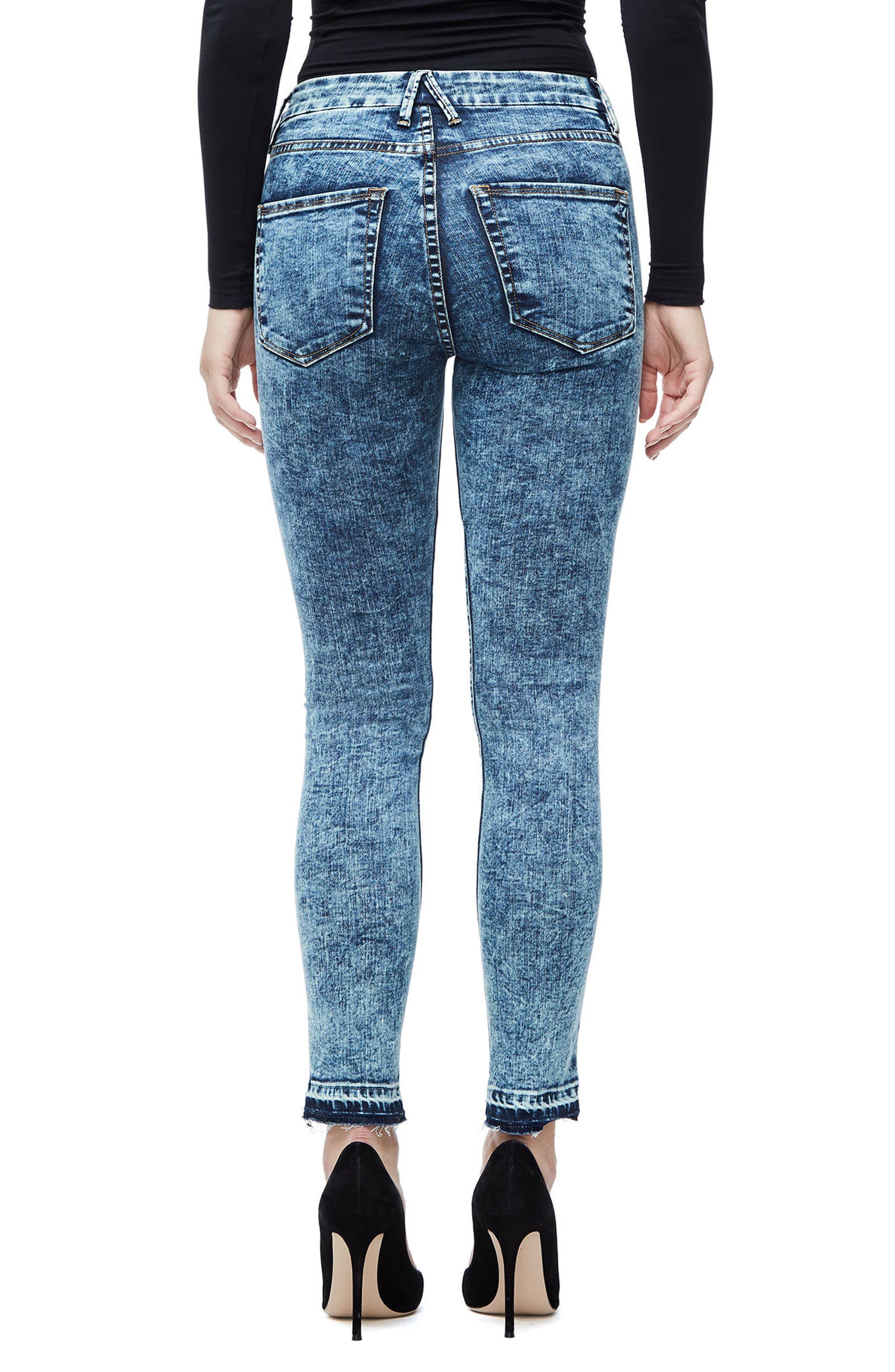 Good Waist Acid Wash Crop Skinny Jeans,                             Alternate thumbnail 2, color,                             Blue145
