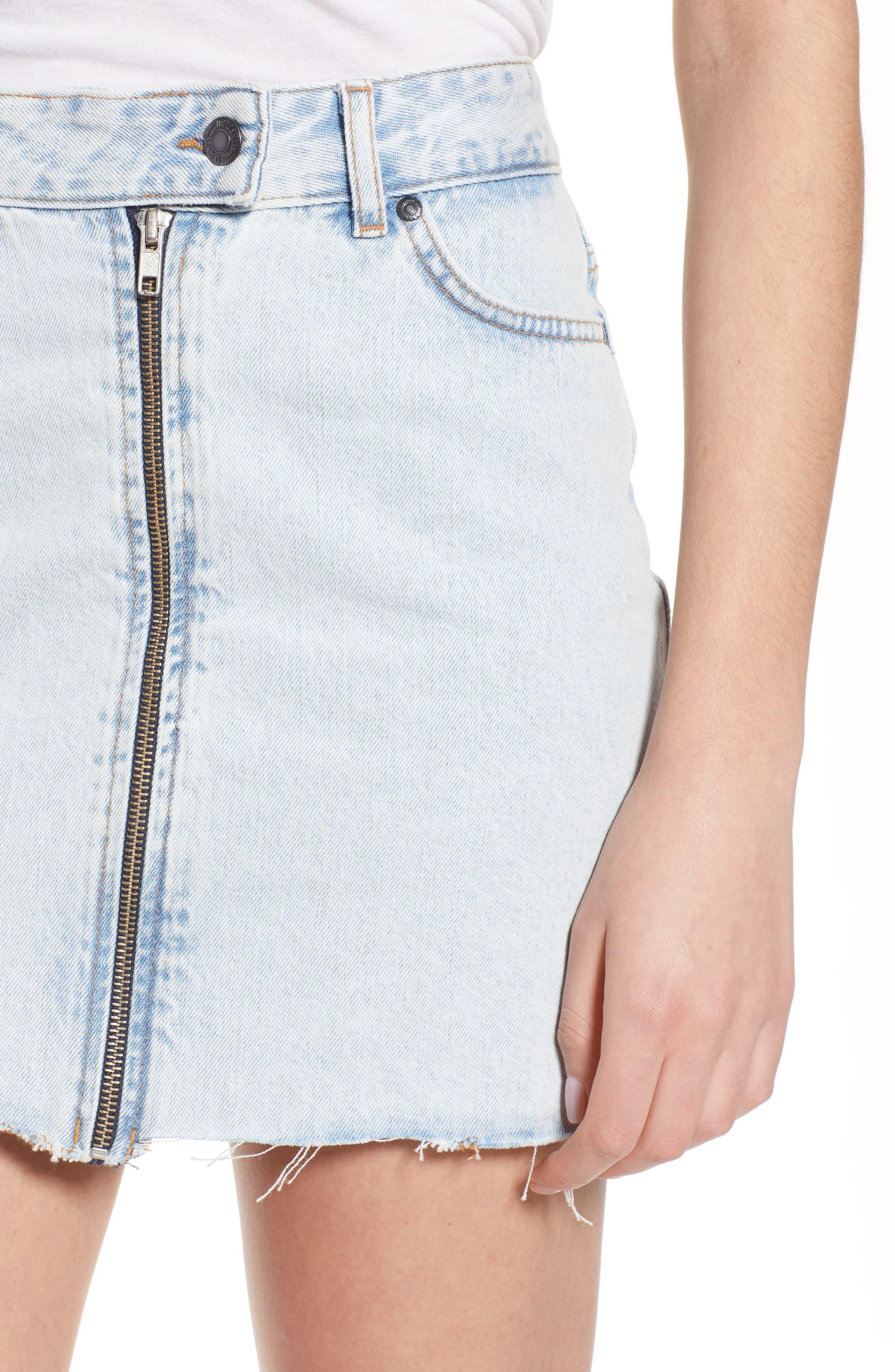 Dillon Denim Skirt,                             Alternate thumbnail 6, color,                             Worn Superlight Blue