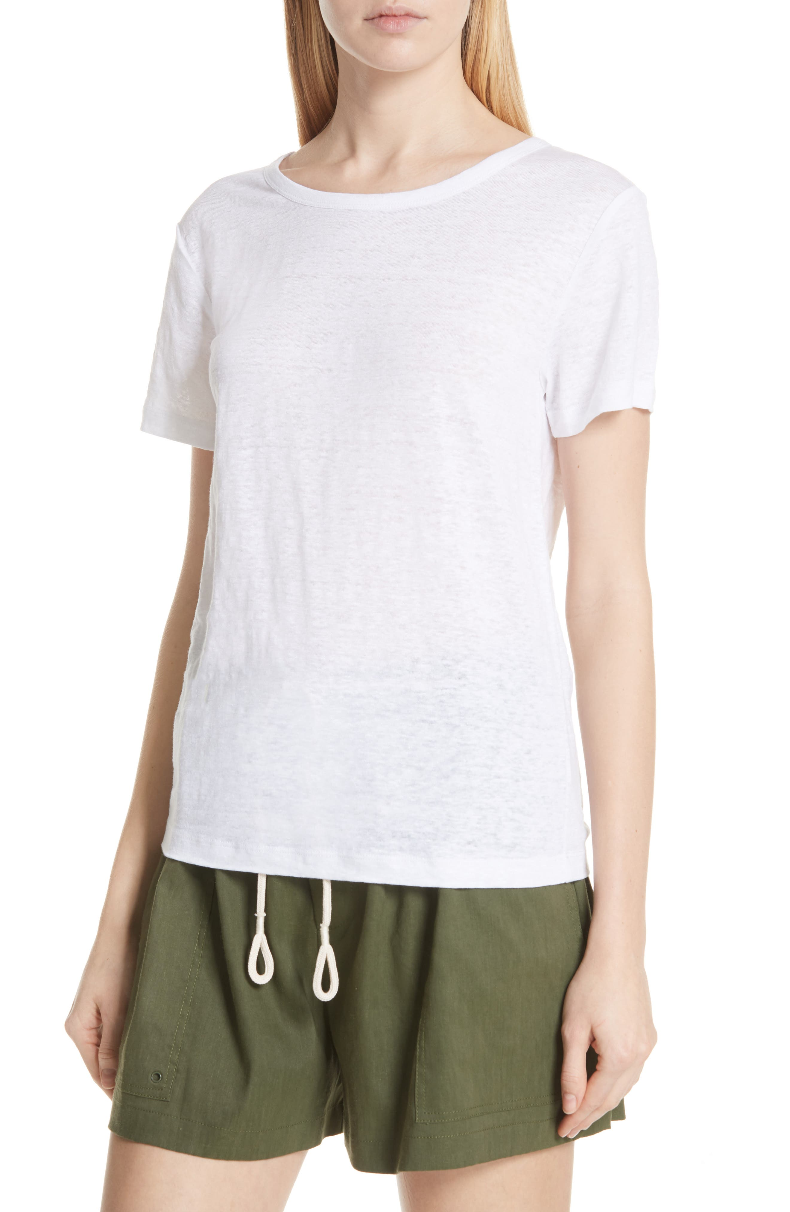 Linen Short Sleeve Top,                             Alternate thumbnail 4, color,                             Optic White