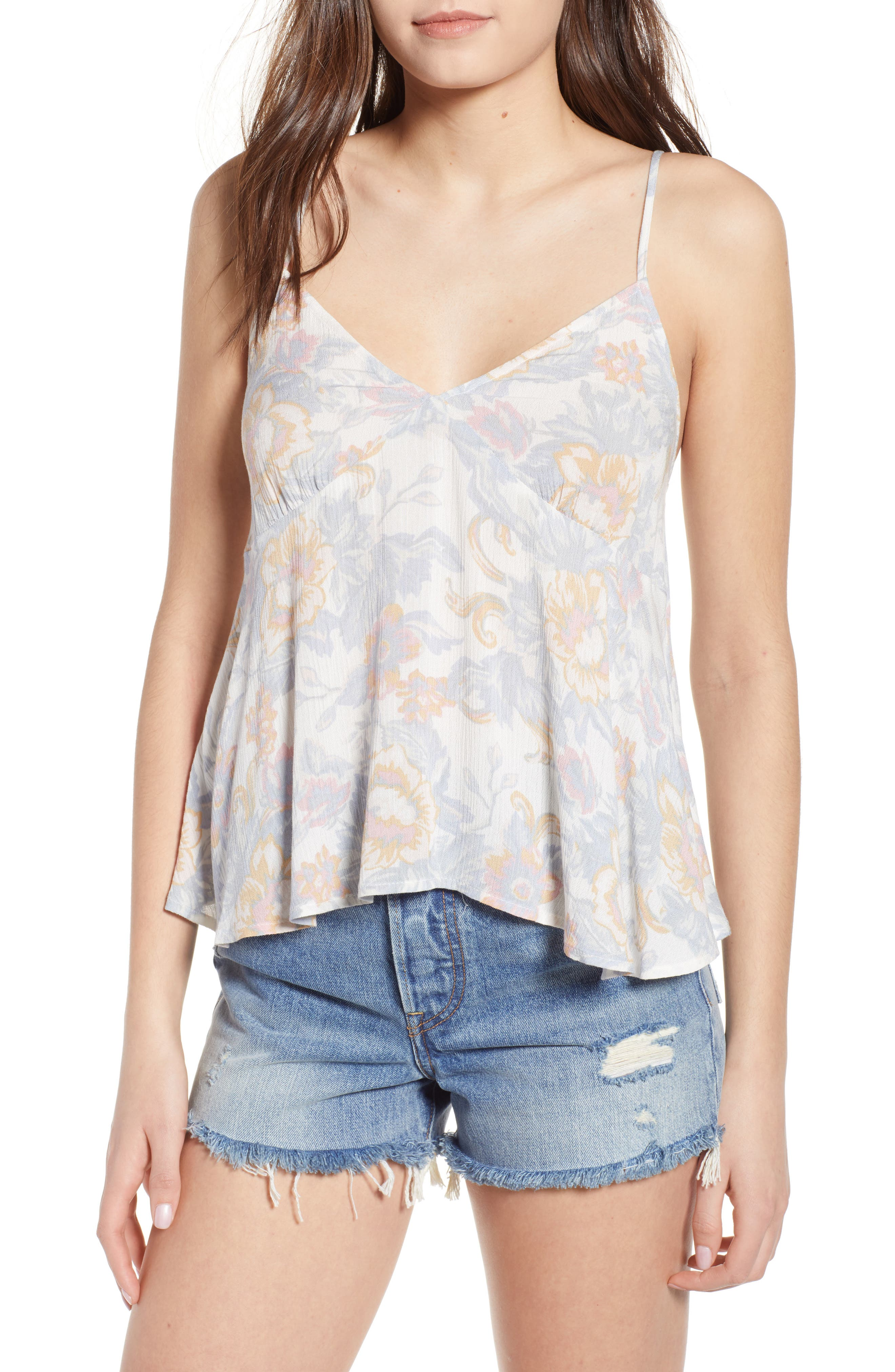Print Babydoll Camisole,                             Main thumbnail 1, color,                             Ivory Egret Tapestry Floral