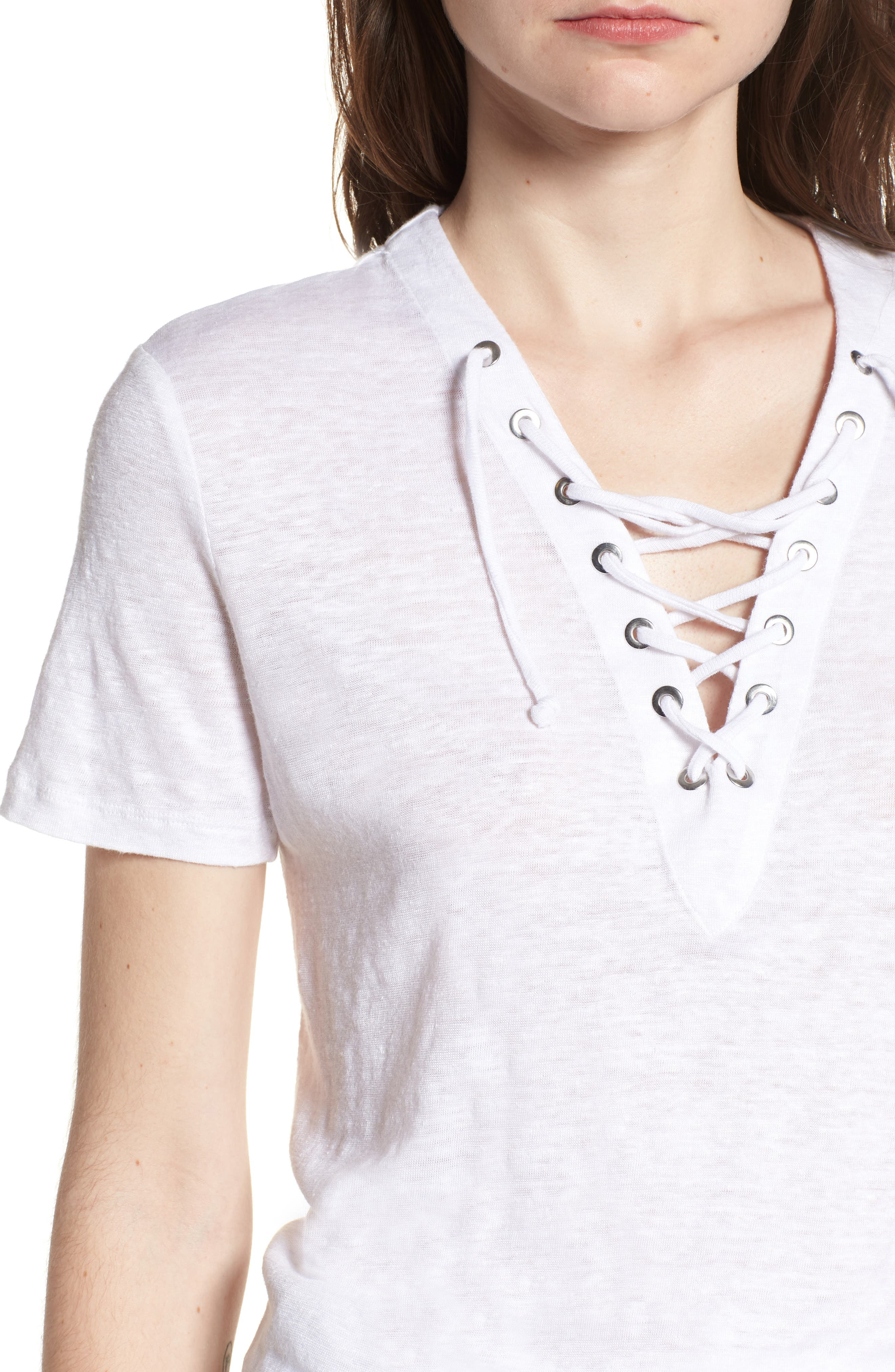 Pier Lace-Up Tee,                             Alternate thumbnail 4, color,                             White