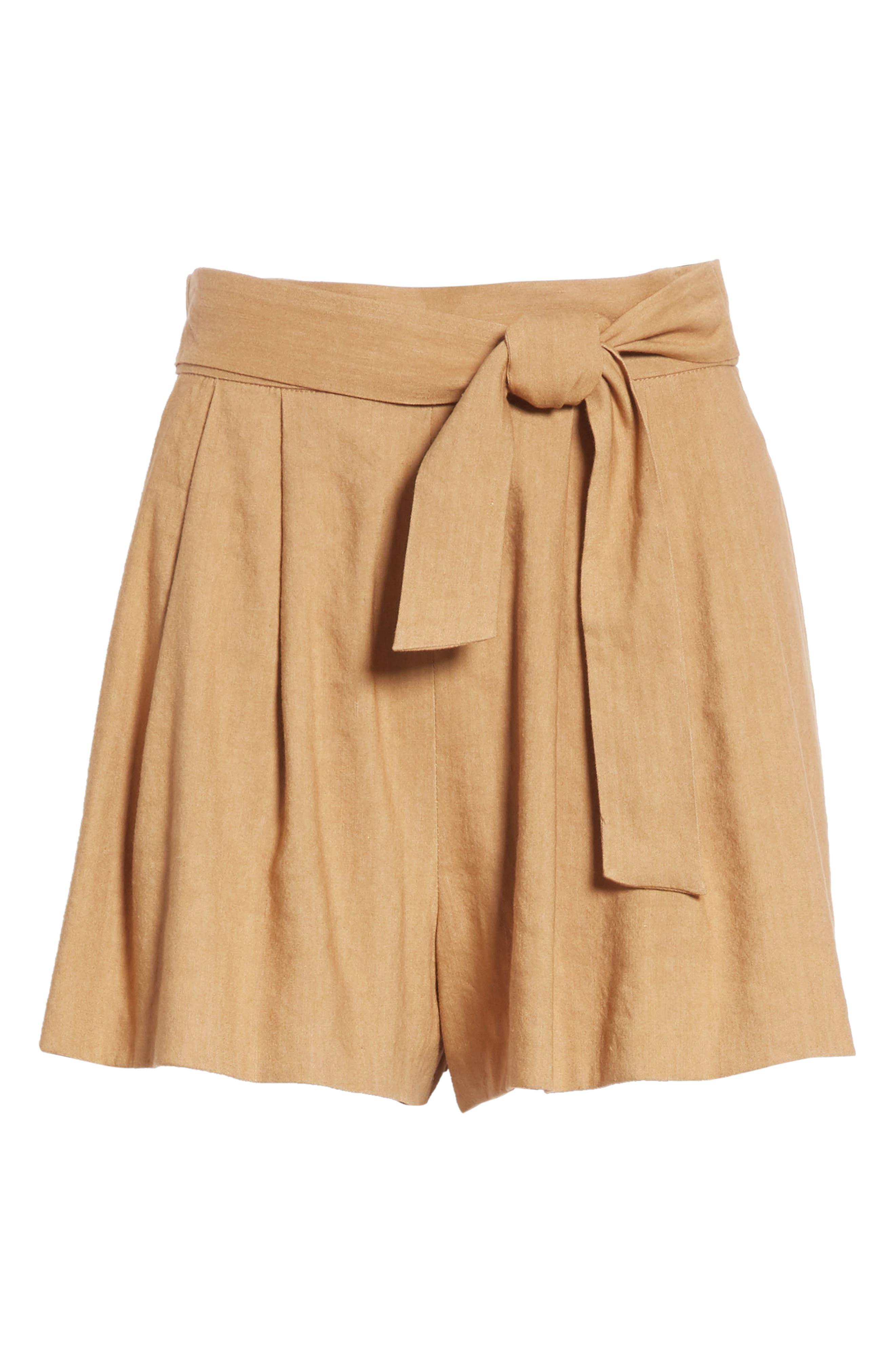 Dawson Flutter Tie Waist Linen Blend Shorts,                             Alternate thumbnail 6, color,                             Tan