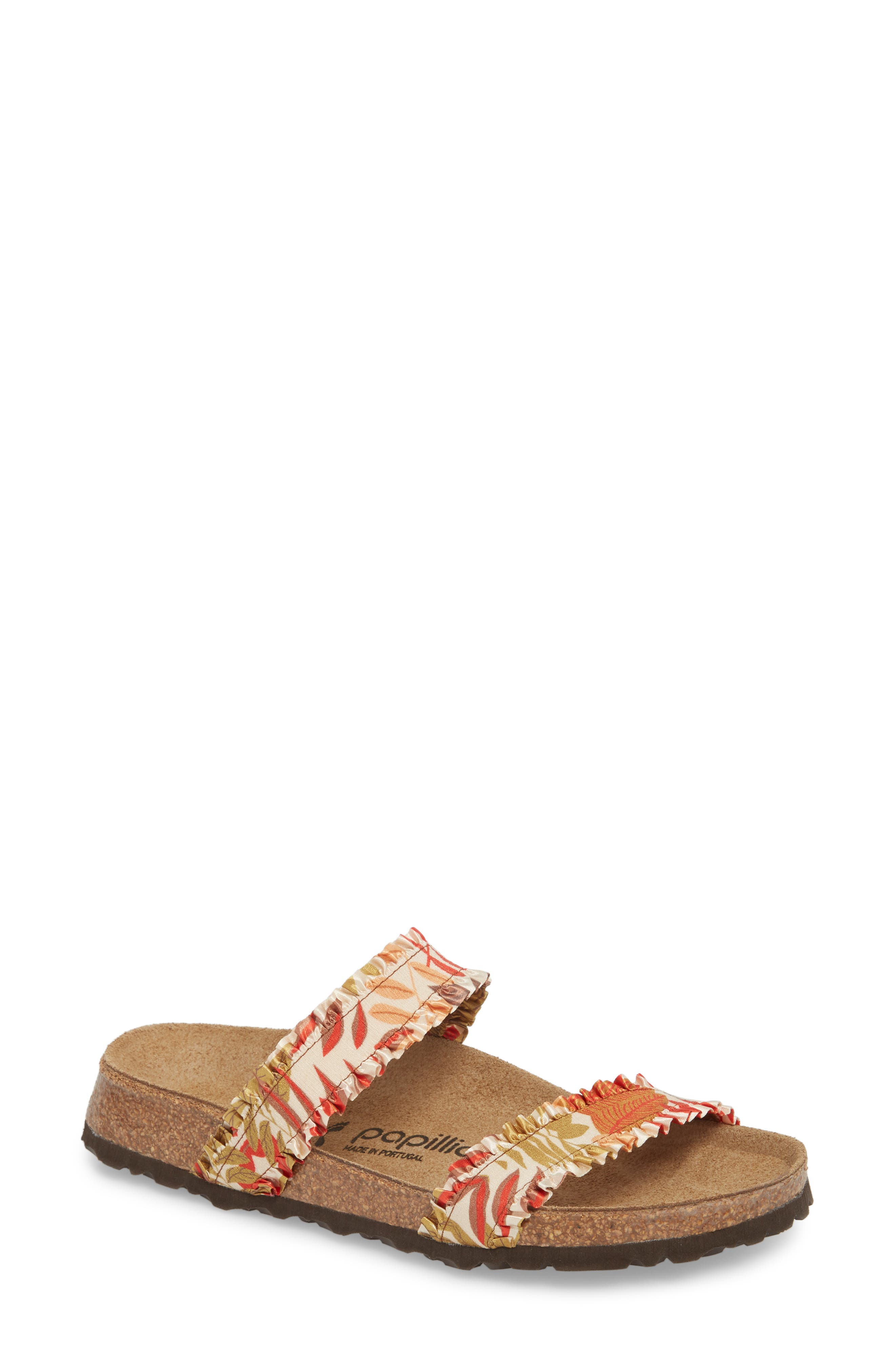Papillio by Birkenstock Curacao Slide Sandal,                             Main thumbnail 1, color,                             Flower Frill Brown Fabric