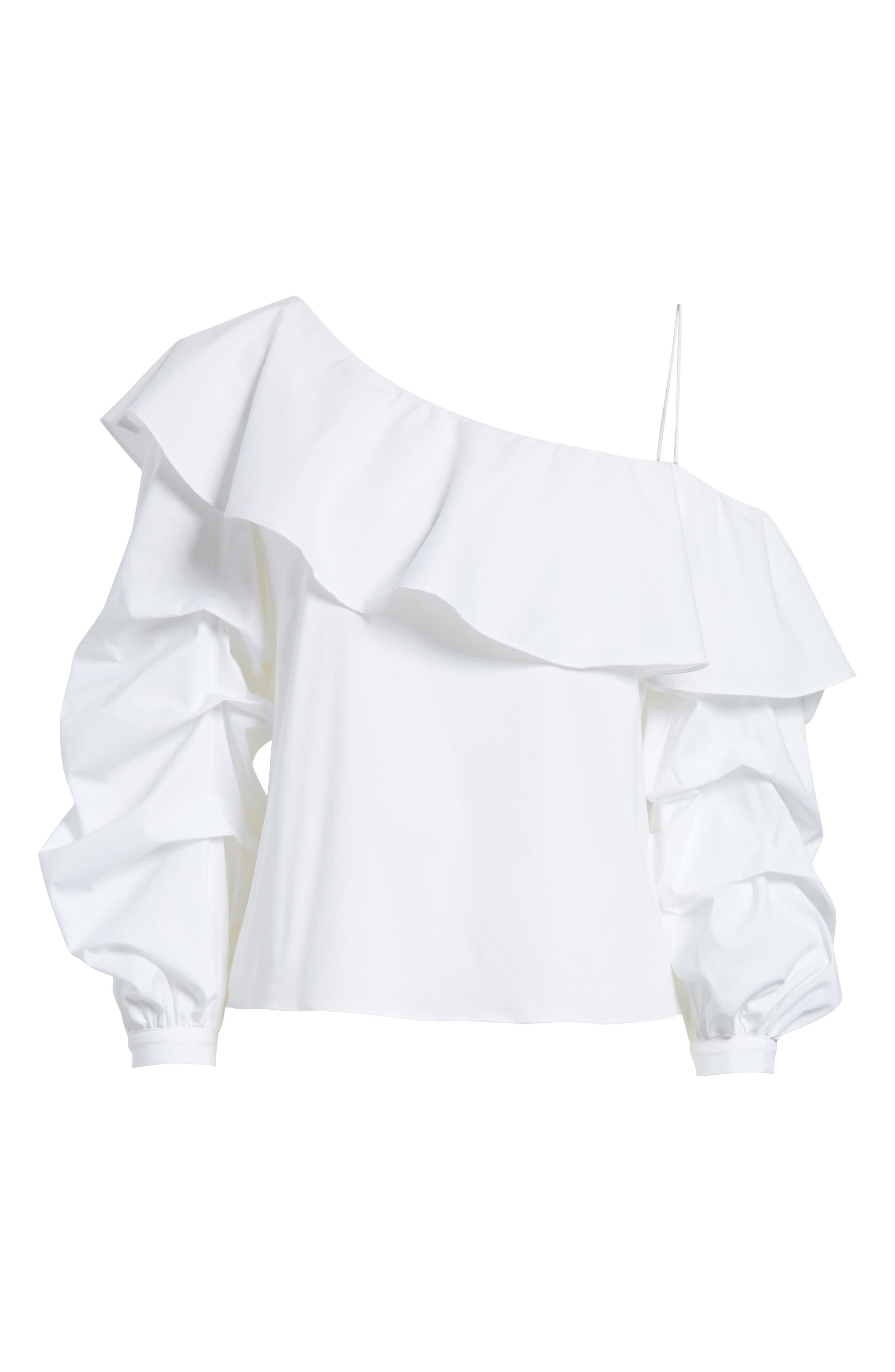 Irvine Ruffle One-Shoulder Blouse,                             Alternate thumbnail 6, color,                             White
