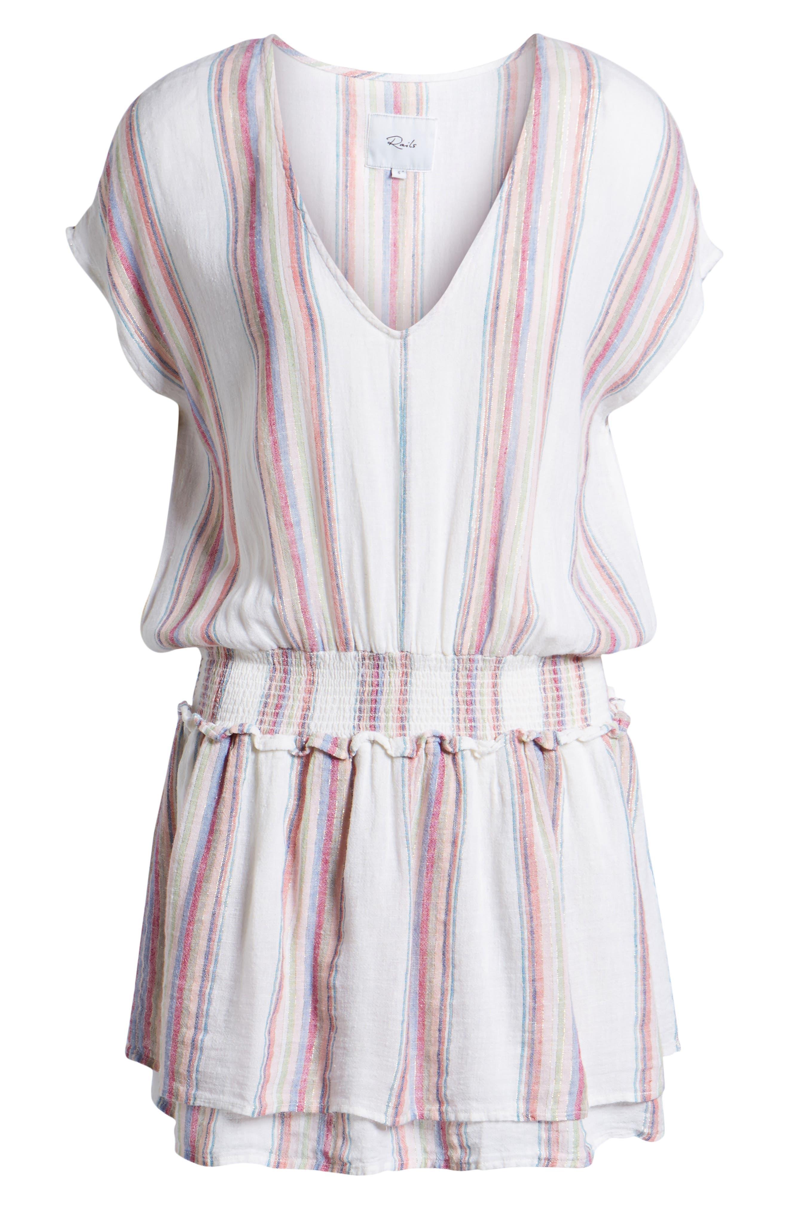 Lucca Linen Blend Dress,                             Alternate thumbnail 6, color,                             Havana Stripe