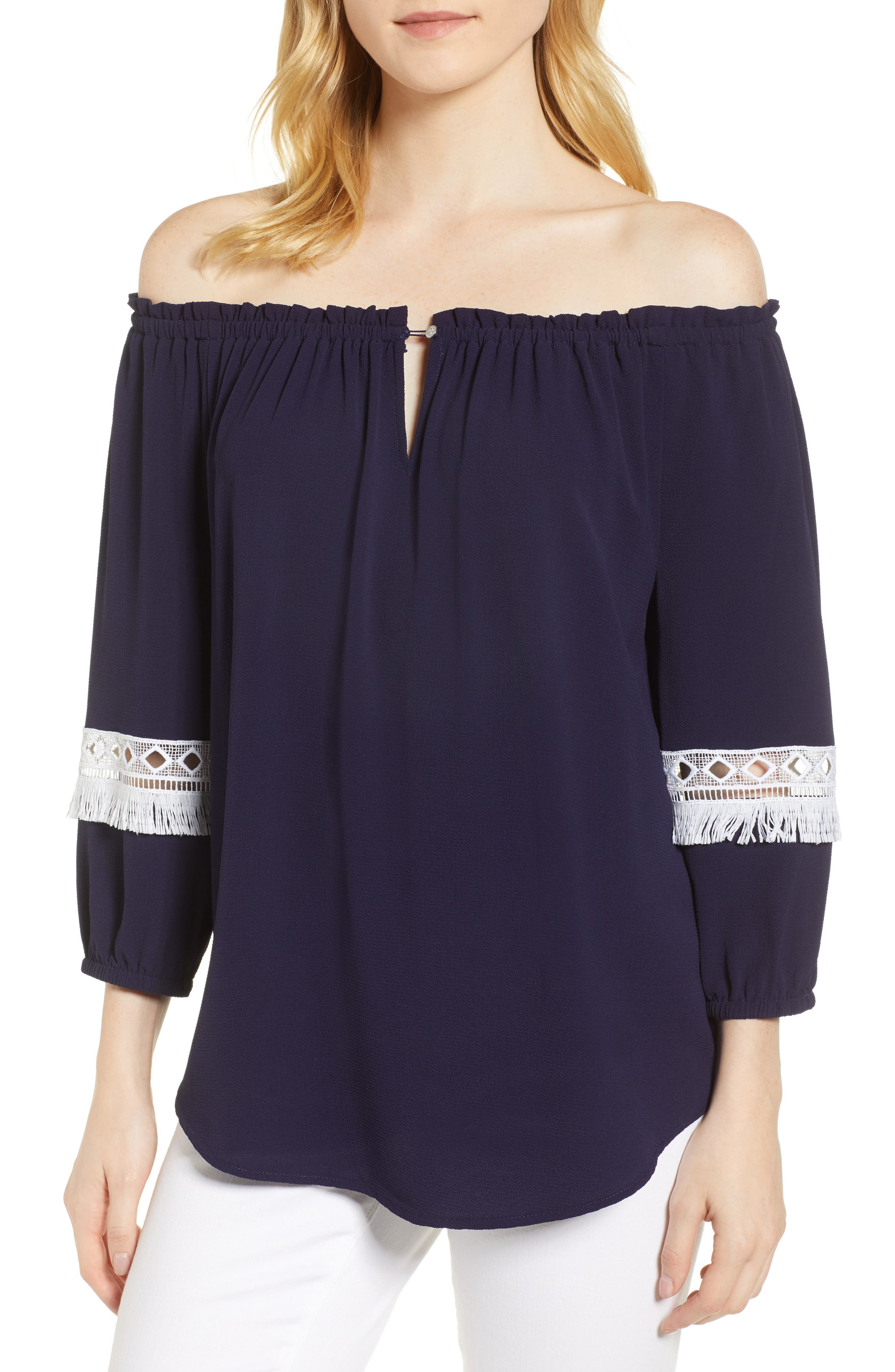 Off the Shoulder Embroidered Fringe Top,                             Main thumbnail 1, color,                             Evening Navy