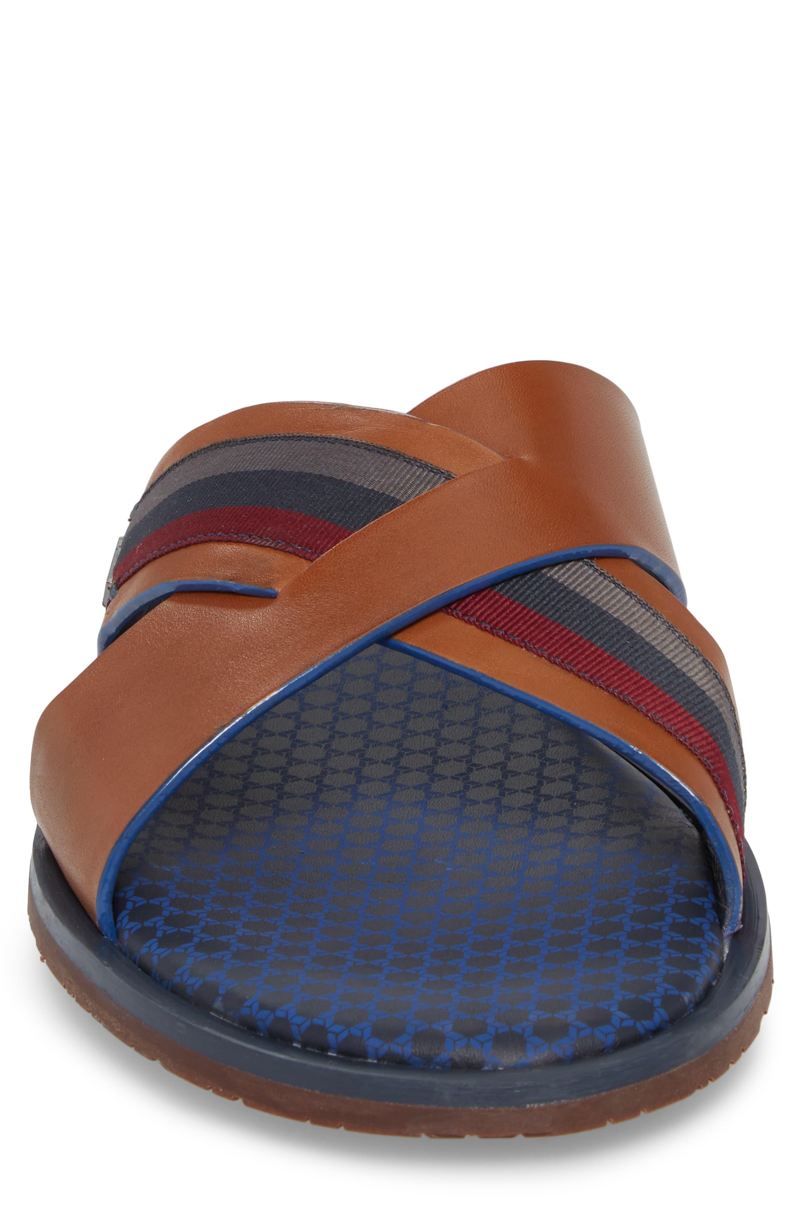 Farrull Cross Strap Slide Sandal,                             Alternate thumbnail 4, color,                             Tan Leather/ Textile