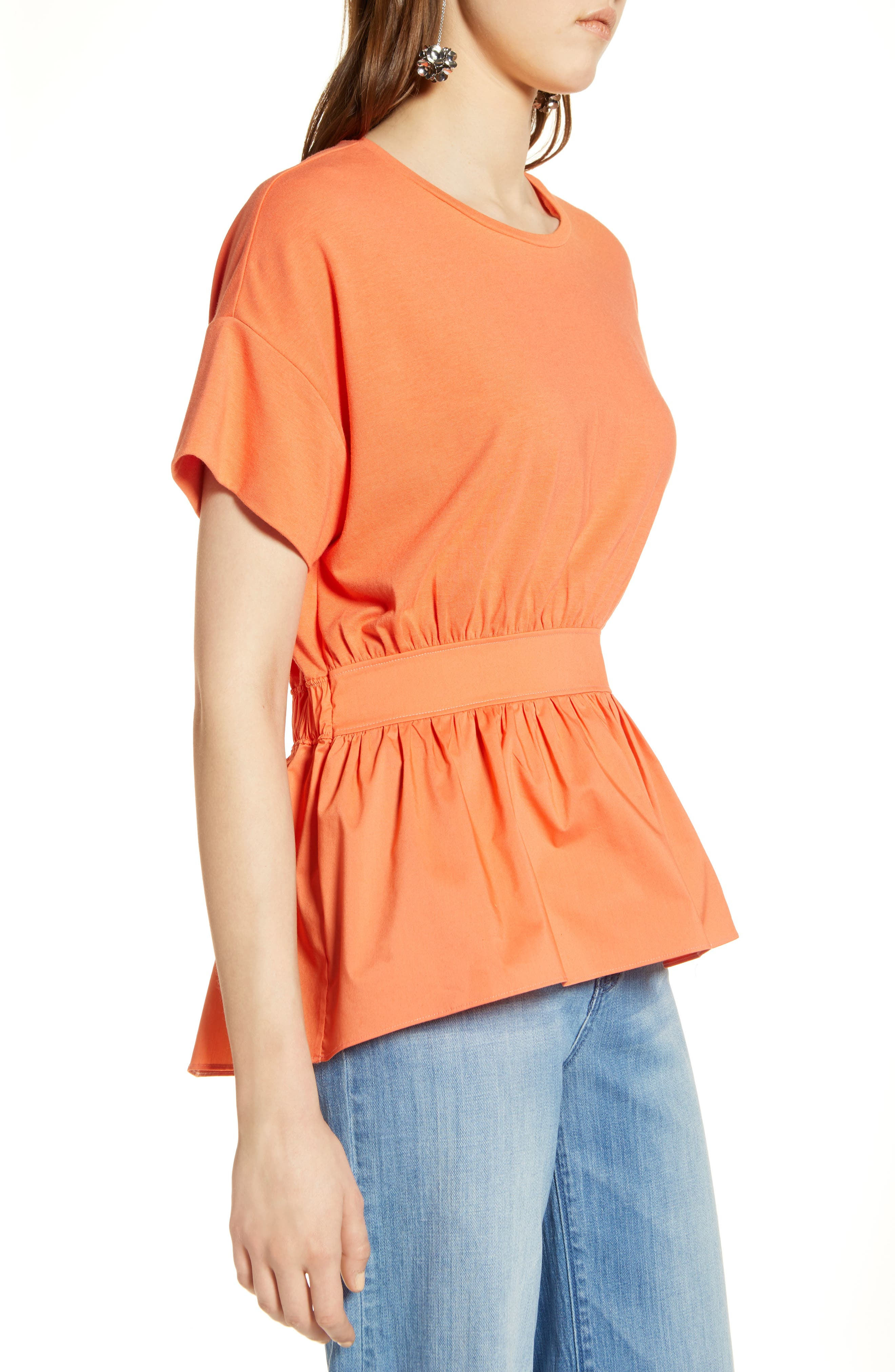 Gathered Waist Top,                             Alternate thumbnail 3, color,                             Coral Ocean