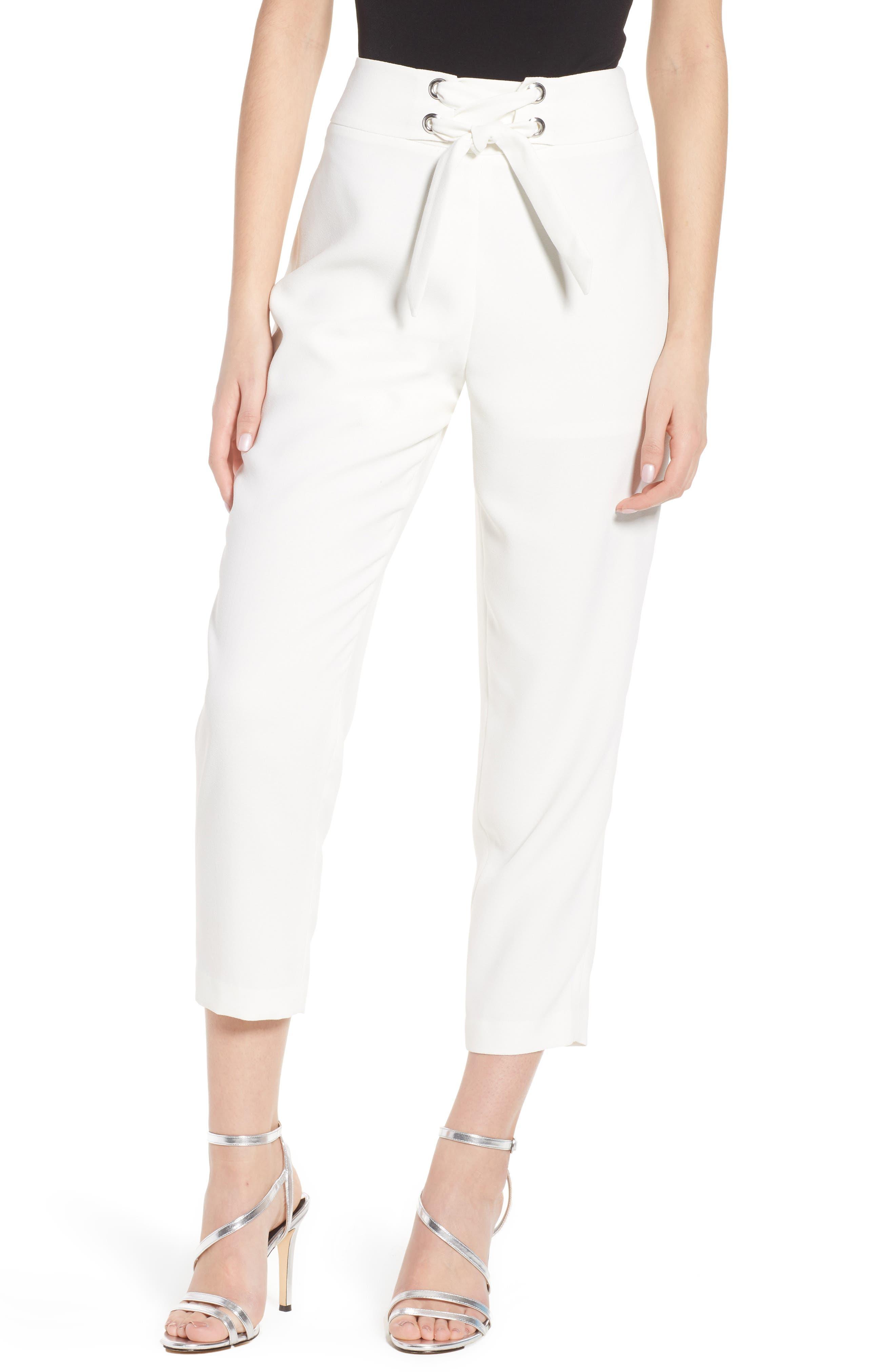 Tie Front Pants,                             Main thumbnail 1, color,                             Ivory