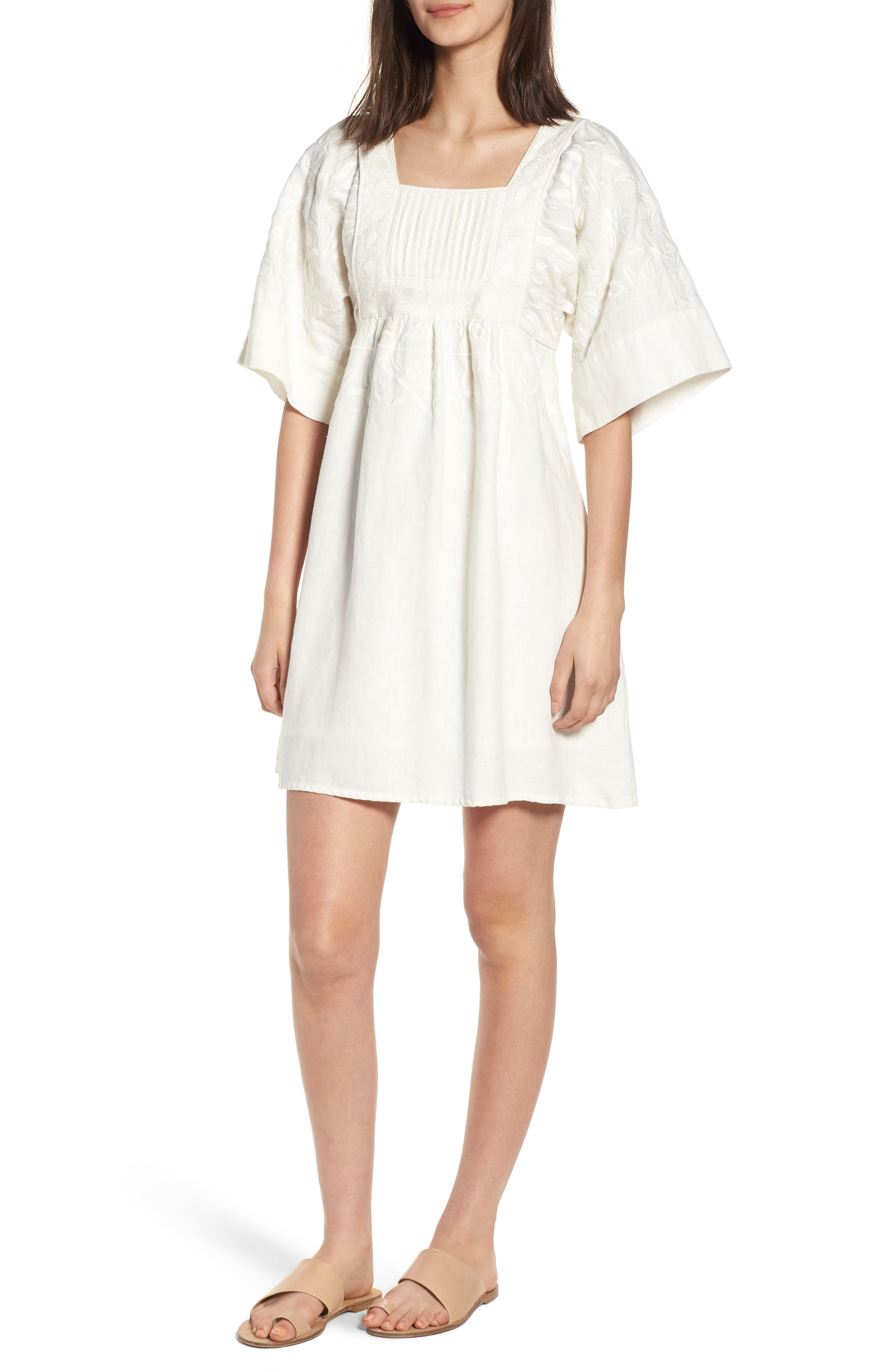 Elisa Embroidered Babydoll Dress,                         Main,                         color, White