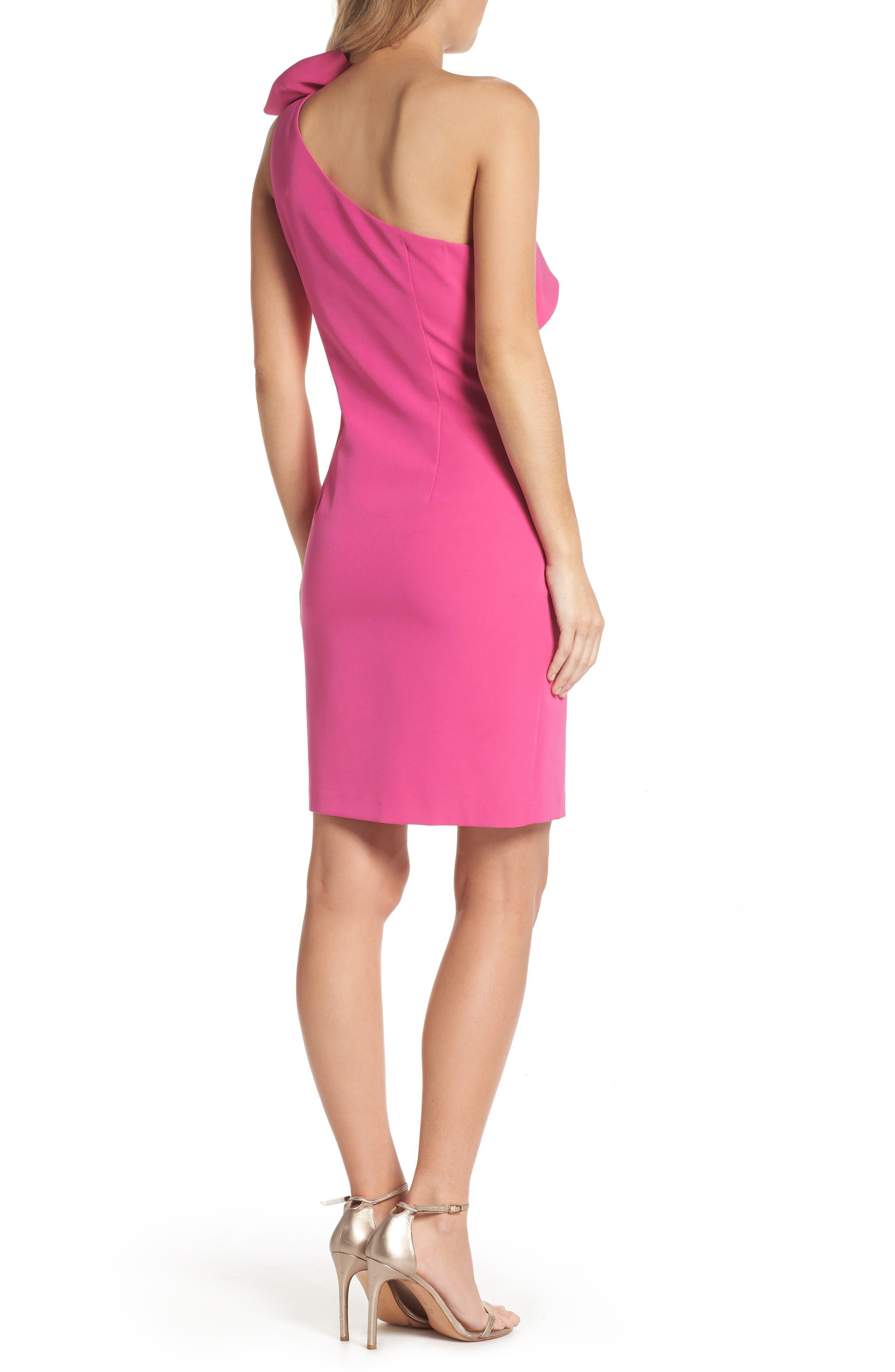 One Shoulder Bow Sheath Dress,                             Alternate thumbnail 2, color,                             Fuchsia