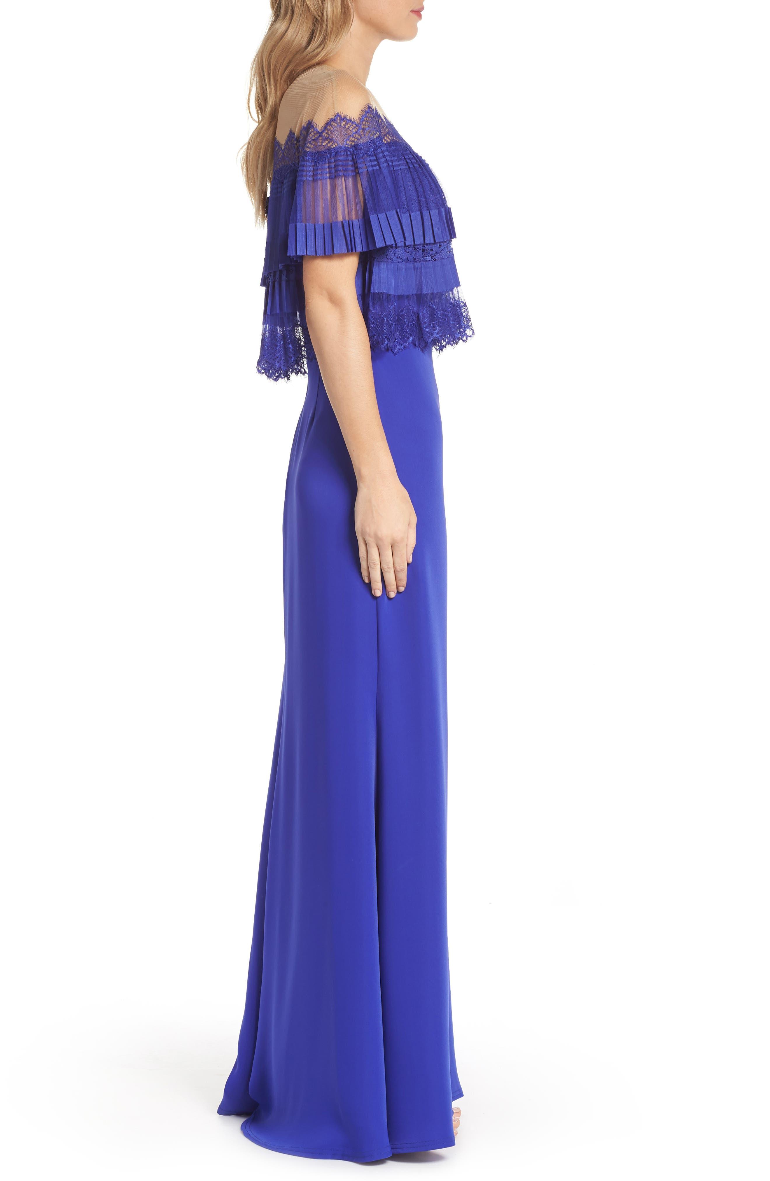 Off-the-Shoulder Lace & Crepe Gown,                             Alternate thumbnail 3, color,                             Royal Iris