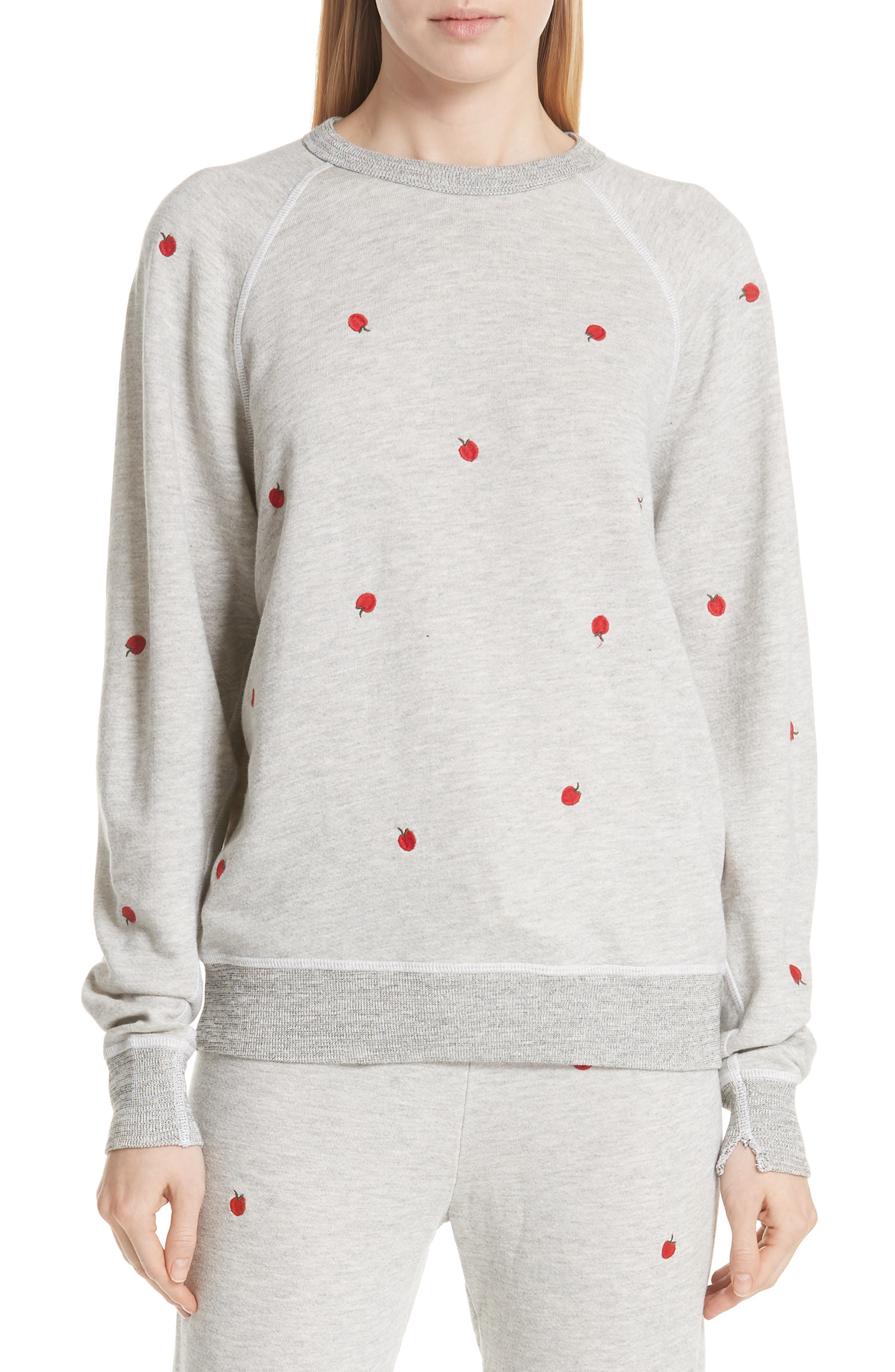 College Sweatshirt,                             Main thumbnail 1, color,                             Light Heather Grey/ Red Apples