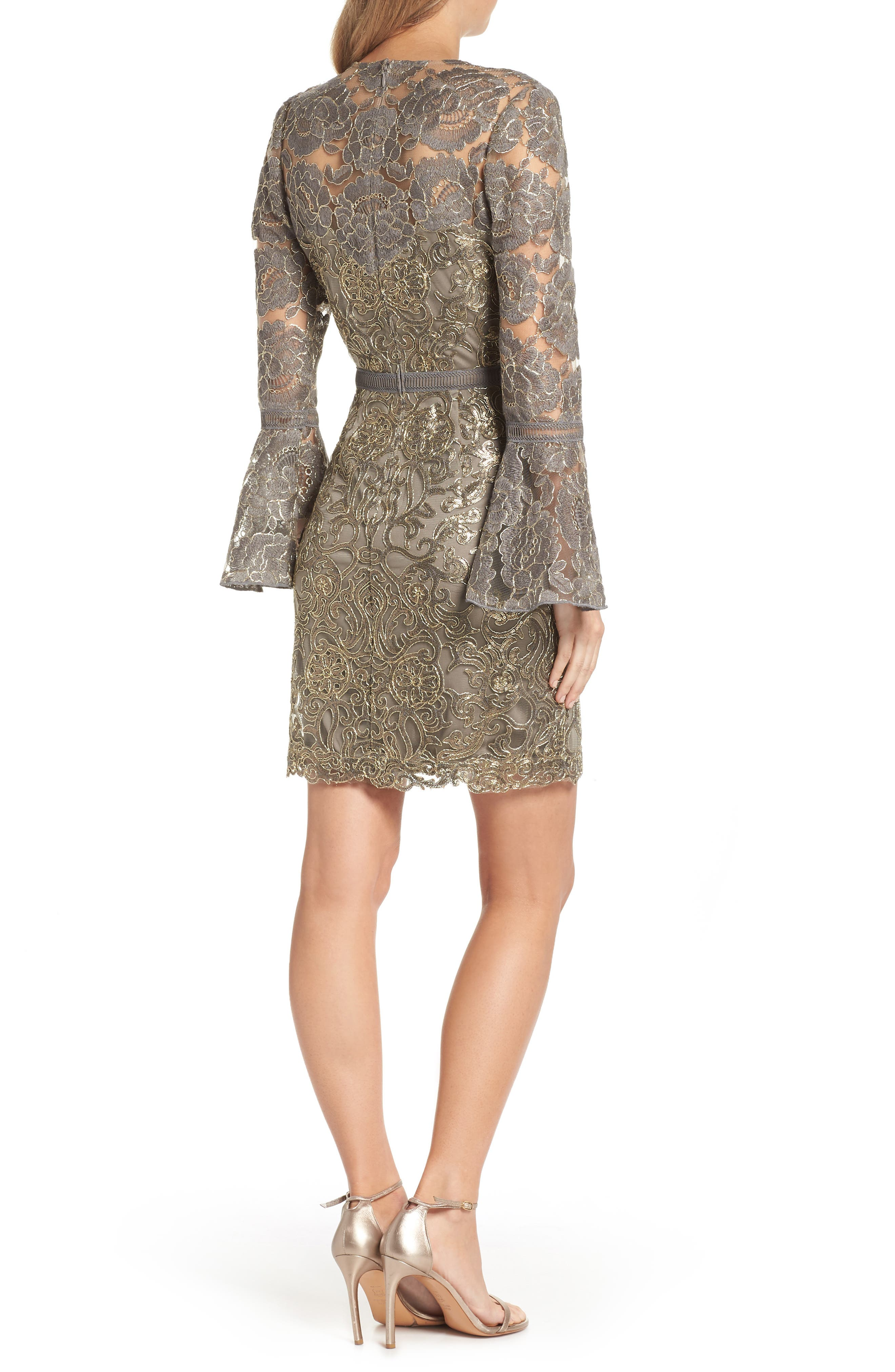 Embroidered Sequin Sheath Dress,                             Alternate thumbnail 2, color,                             Smoke Pearl