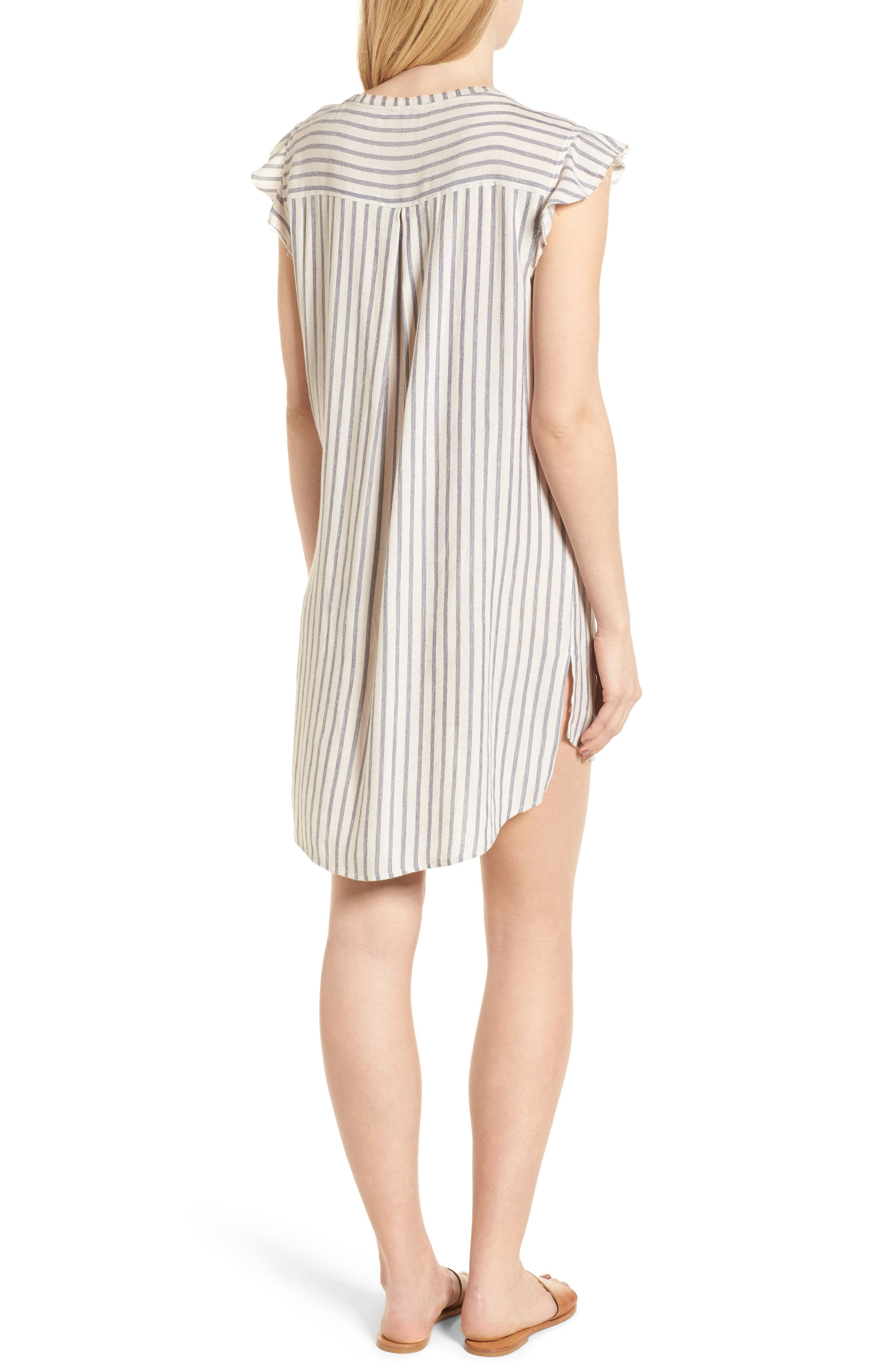 Stripe Ruffle Sleeve Shift Dress,                             Alternate thumbnail 2, color,                             Off White/ Blue