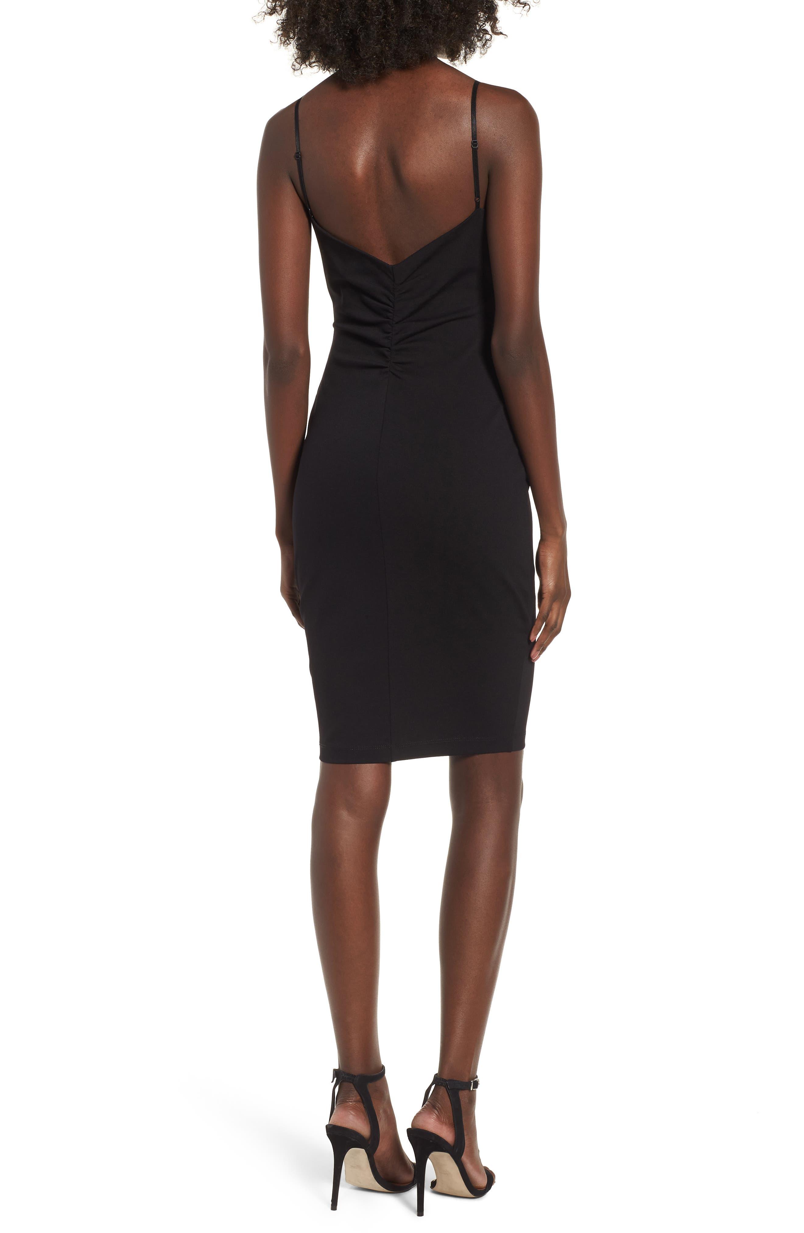 V-Front Bodycon Dress,                             Alternate thumbnail 2, color,                             Black