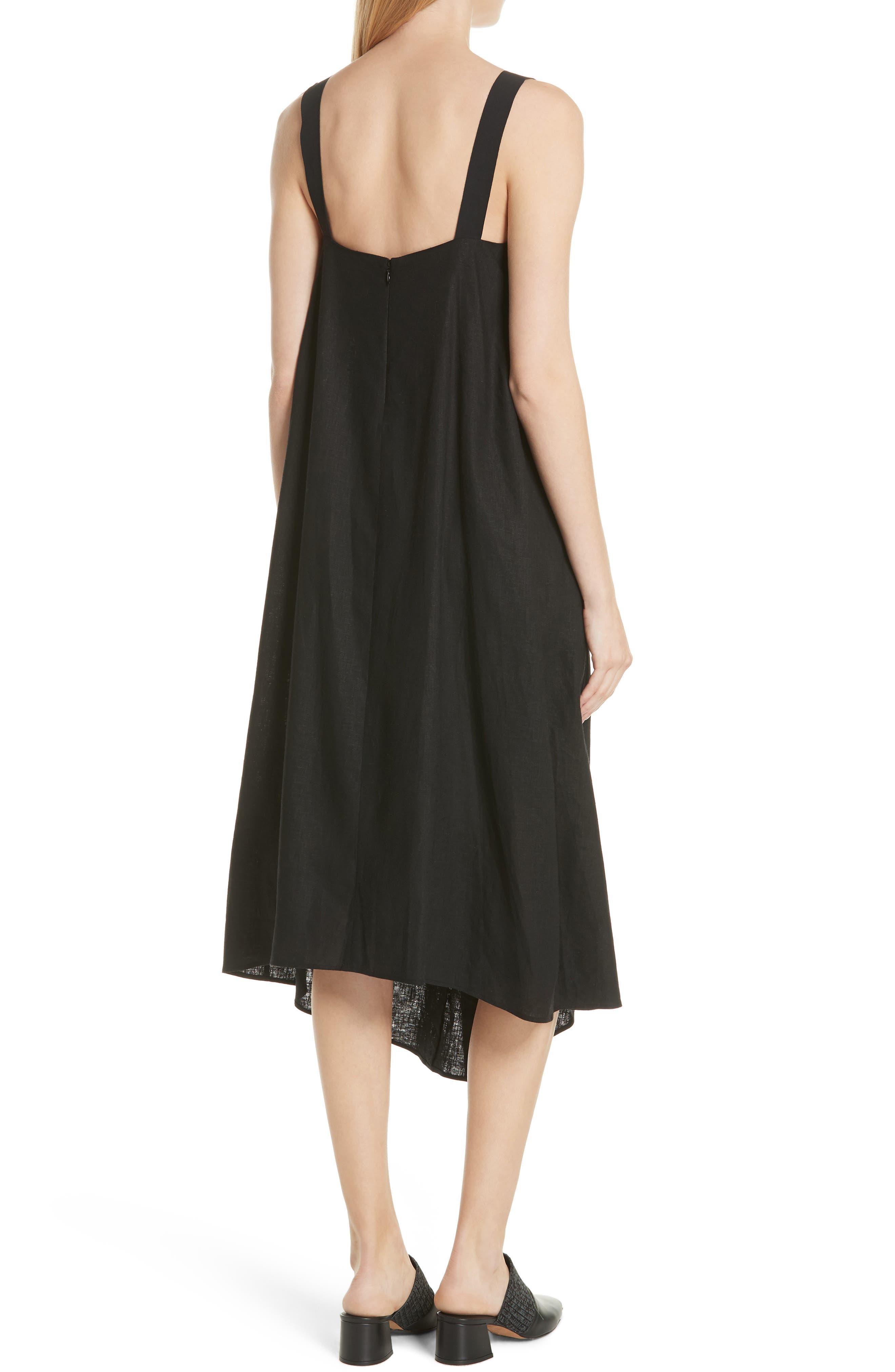 Drape Neck Asymmetrical Hem Dress,                             Alternate thumbnail 2, color,                             Black