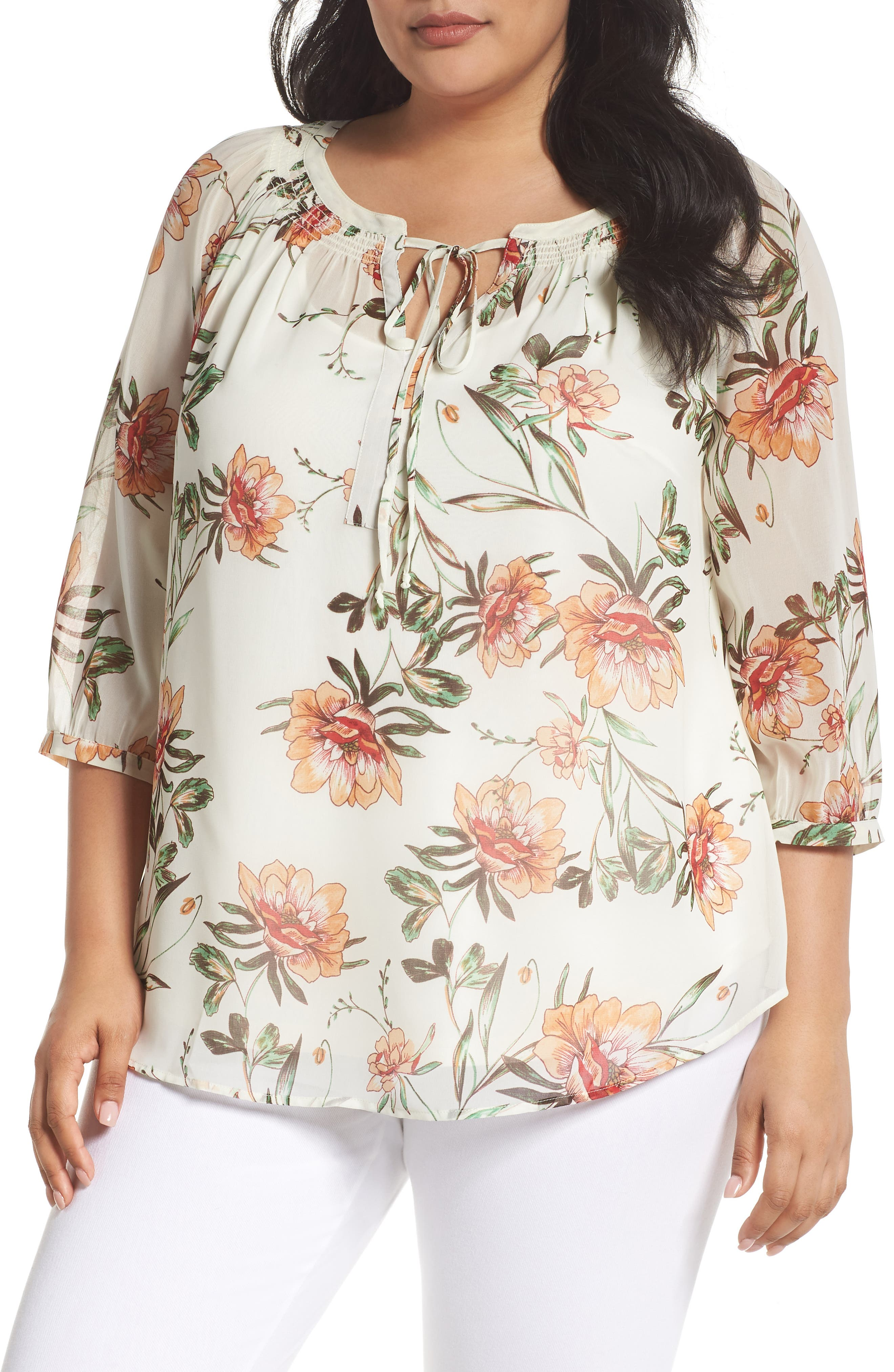 Paisley Blouse,                         Main,                         color, D380n Ivory