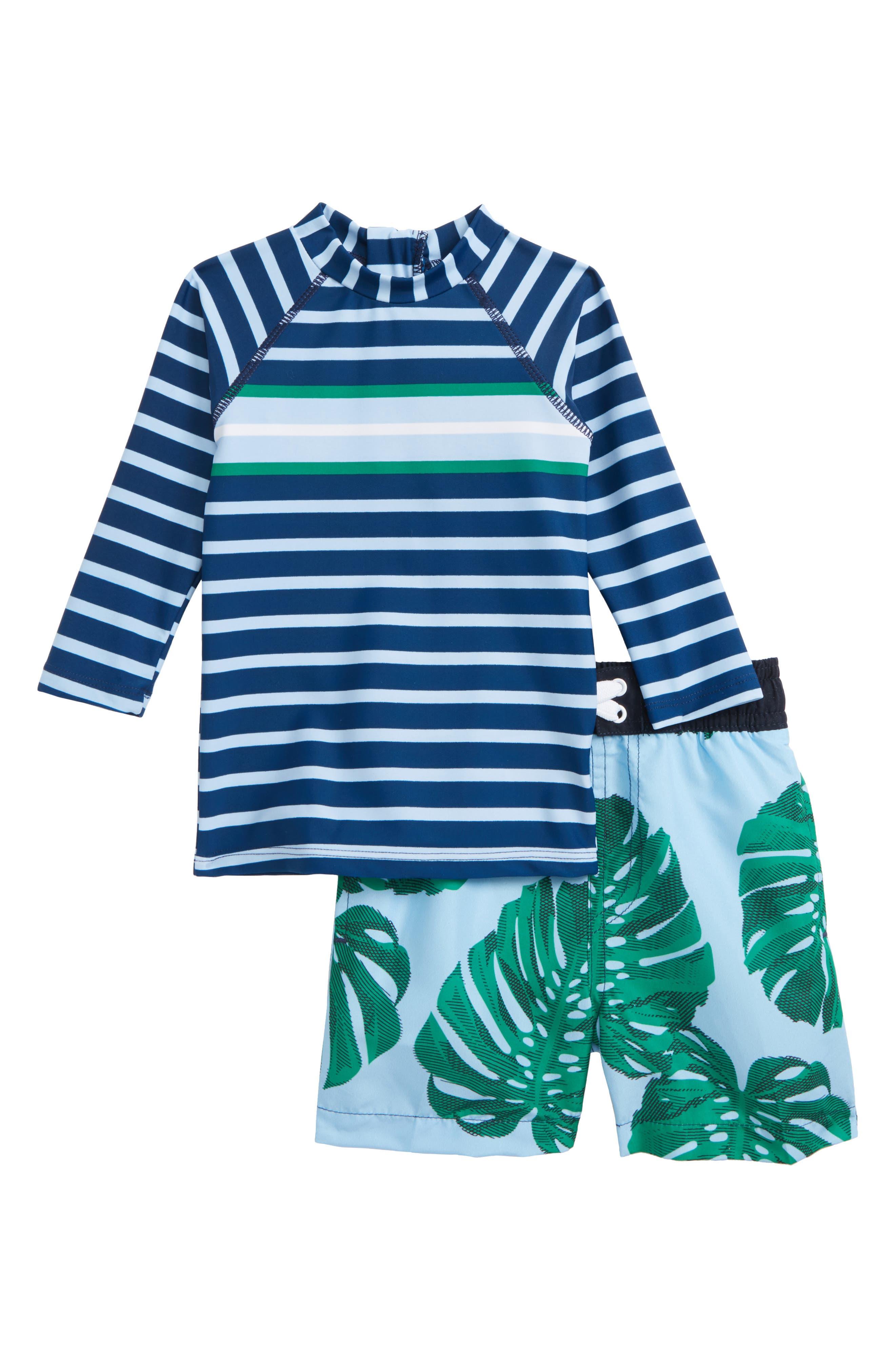 Botanical Blue Two-Piece Rashguard Swimsuit,                         Main,                         color, Blue