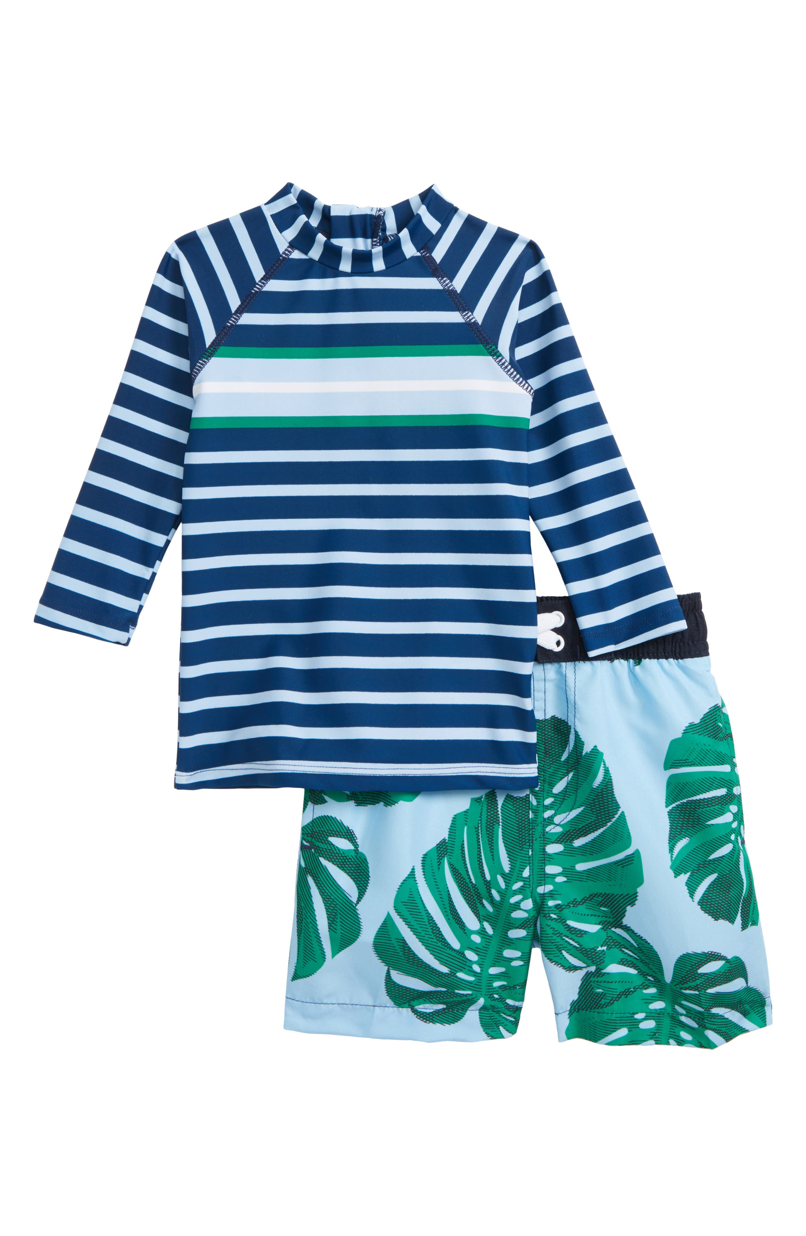 Shade Critters Botanical Blue Two-Piece Rashguard Swimsuit (Baby Boys)
