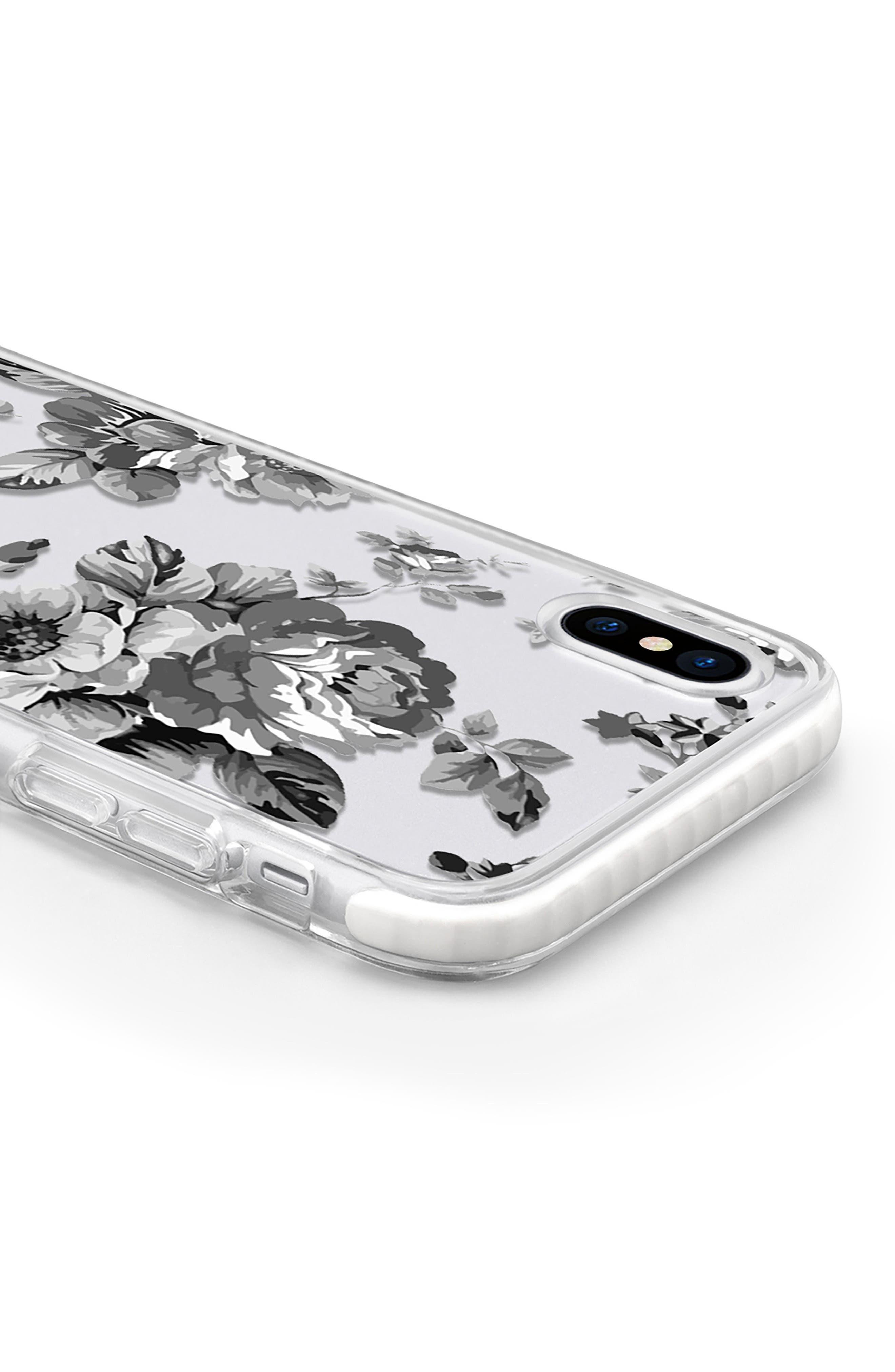 Black Floral Transparent iPhone X Case,                             Alternate thumbnail 4, color,                             Grey