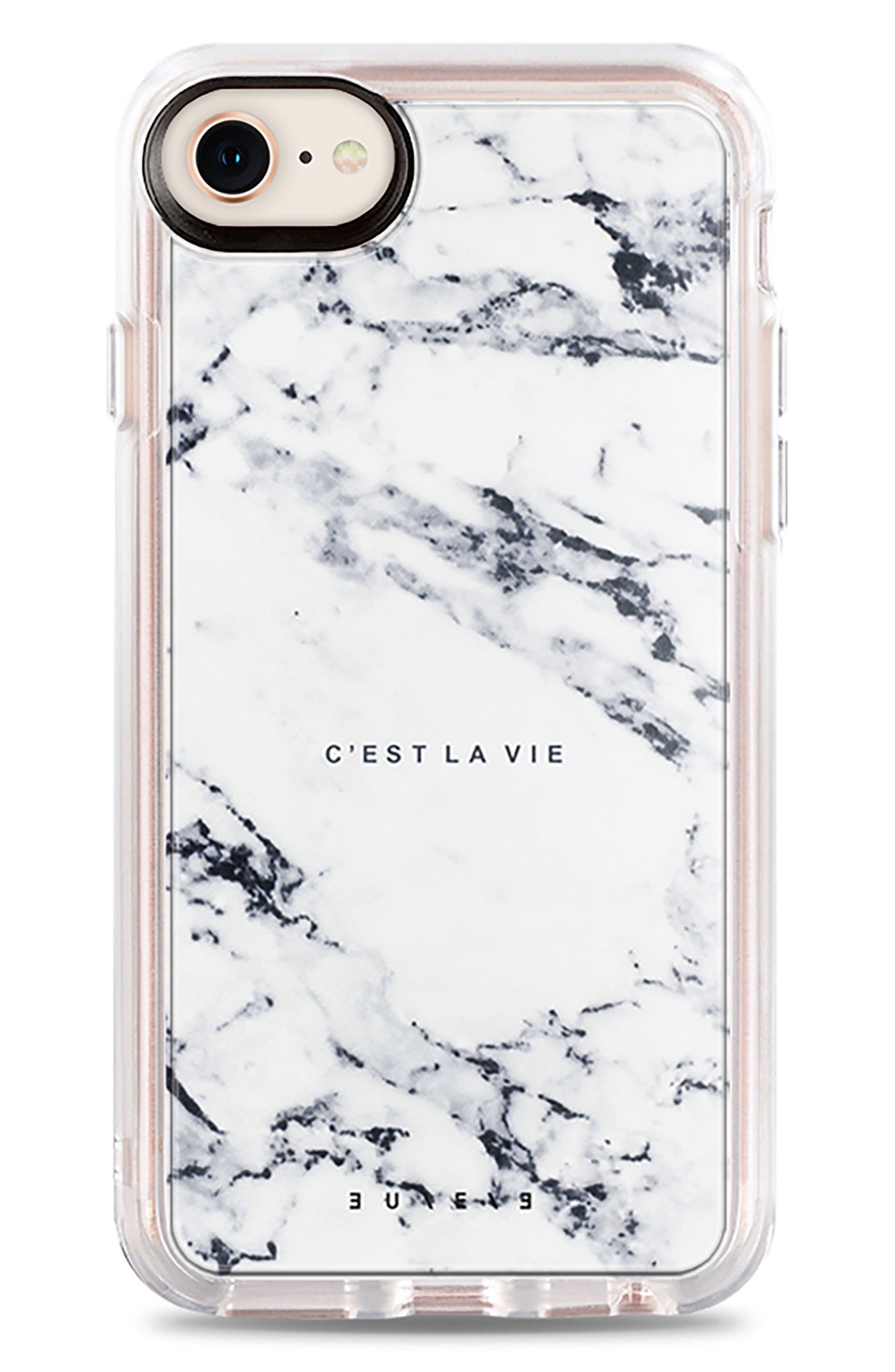C'est la Vie Marble iPhone 7/8 & 7/8 Plus Case,                             Main thumbnail 1, color,                             White Marble