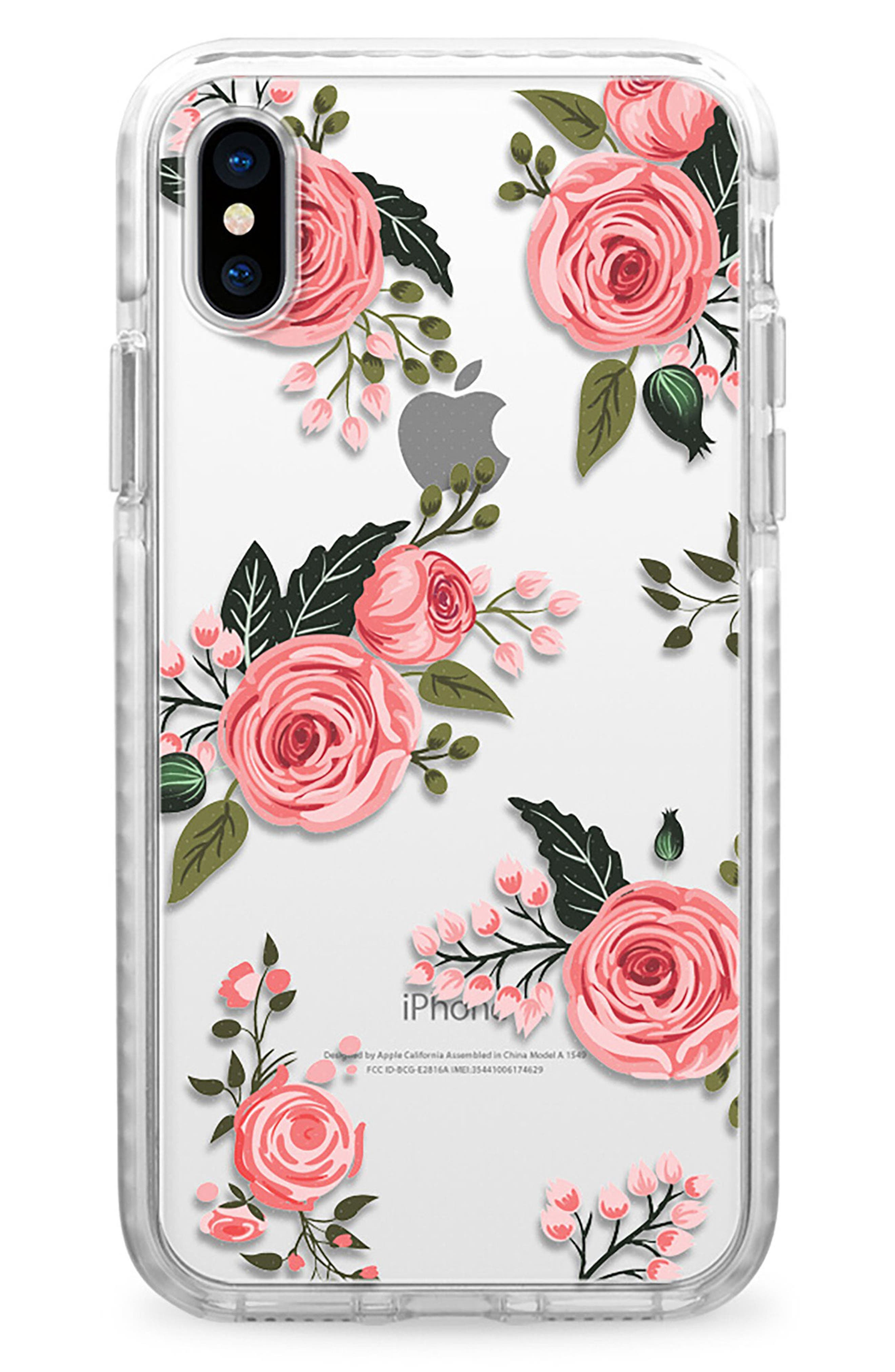 Pink Floral Impact iPhone X Case,                             Main thumbnail 1, color,                             Pink