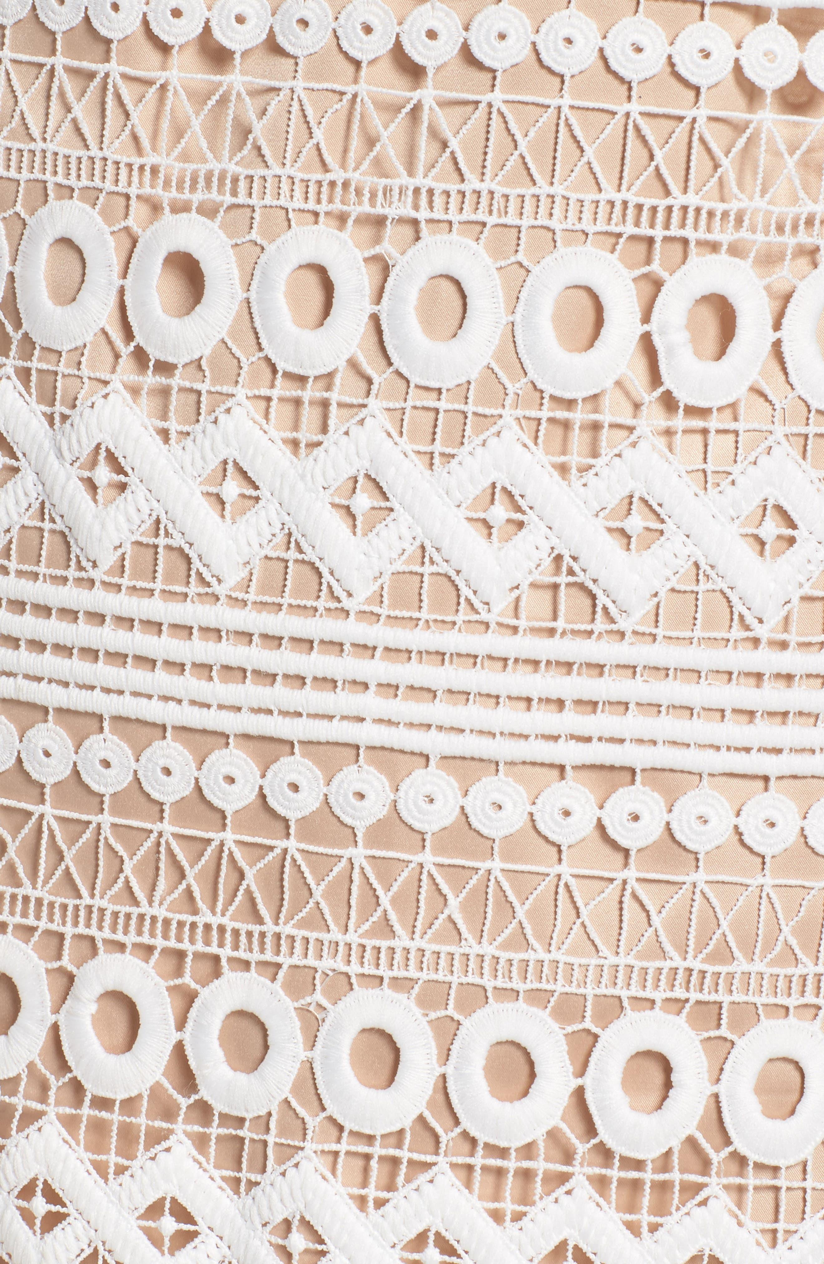 Geo Lace Sheath Dress,                             Alternate thumbnail 6, color,                             Ivory