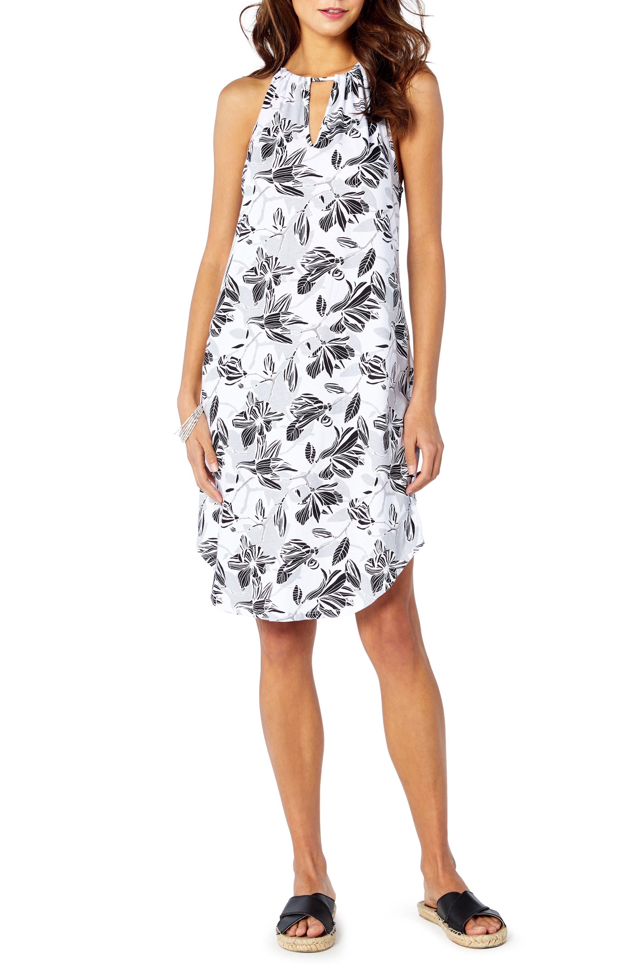 Floral Sun Dress,                         Main,                         color, White