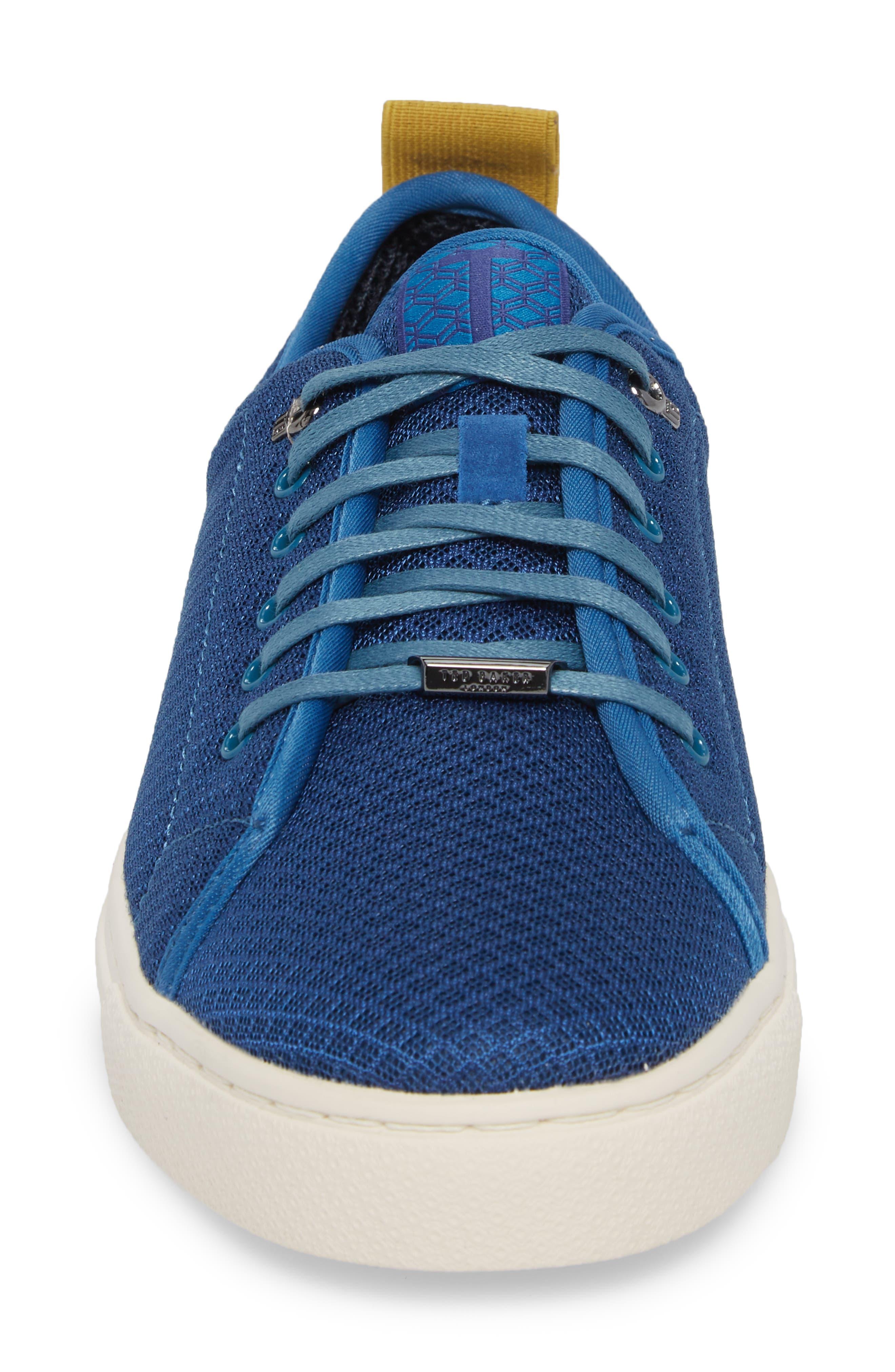 Lannse Low Top Mesh Sneaker,                             Alternate thumbnail 4, color,                             Blue Textile